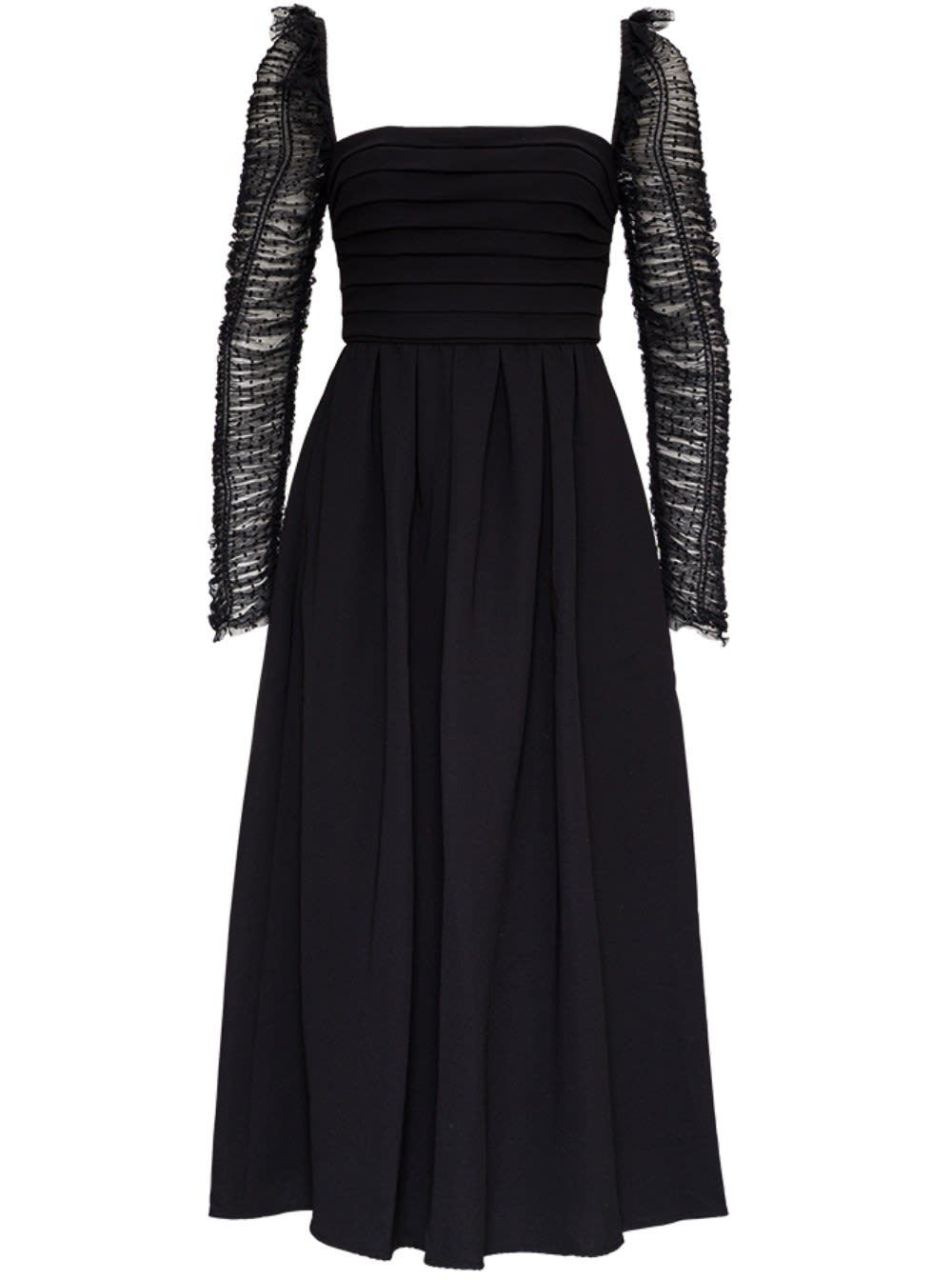 Self-portrait Crepe Dress With Polka Dot Tulle Sleeves In Black