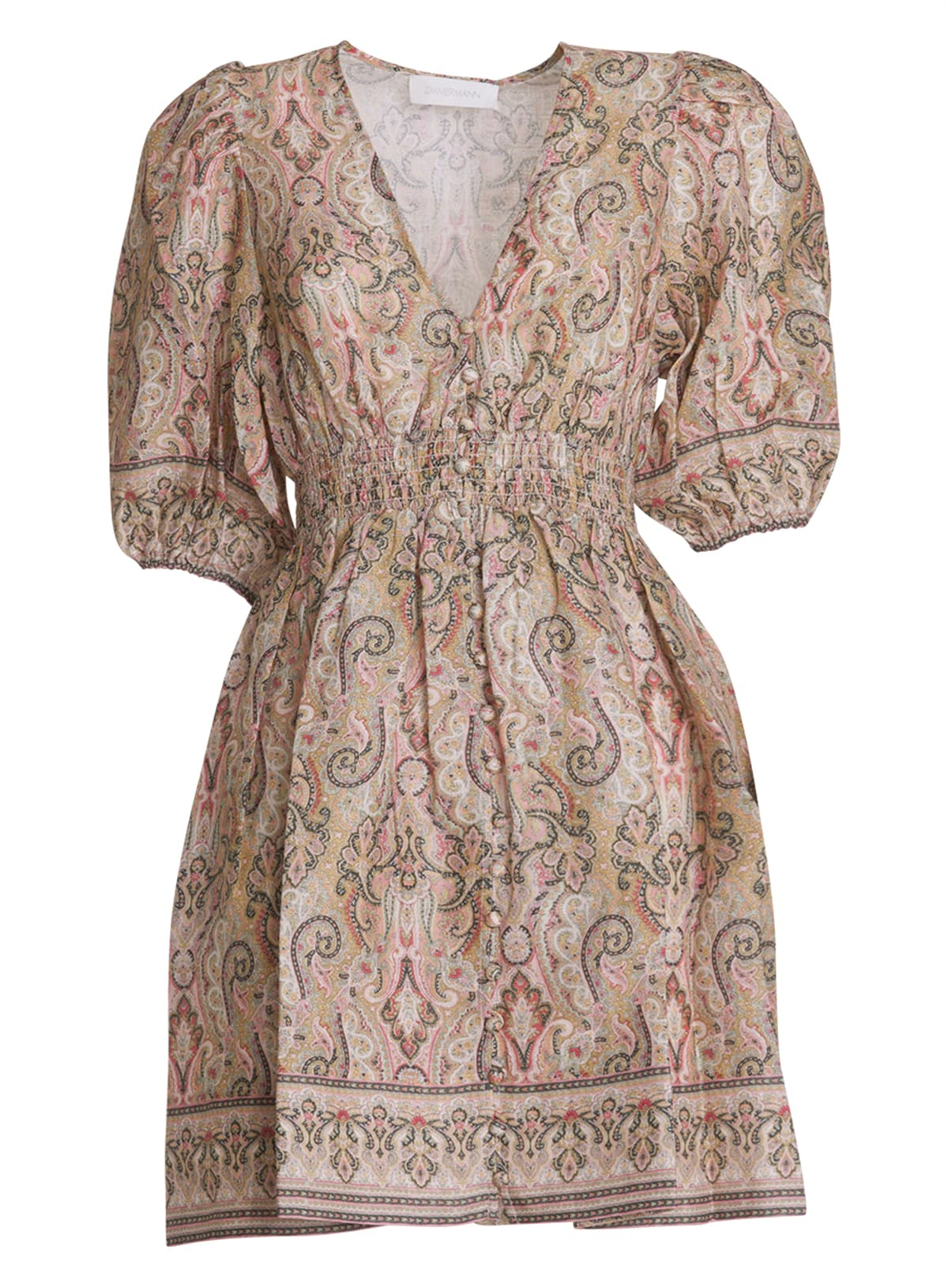 Buy Zimmermann Freja Paisley-print Linen Mini Dress online, shop Zimmermann with free shipping