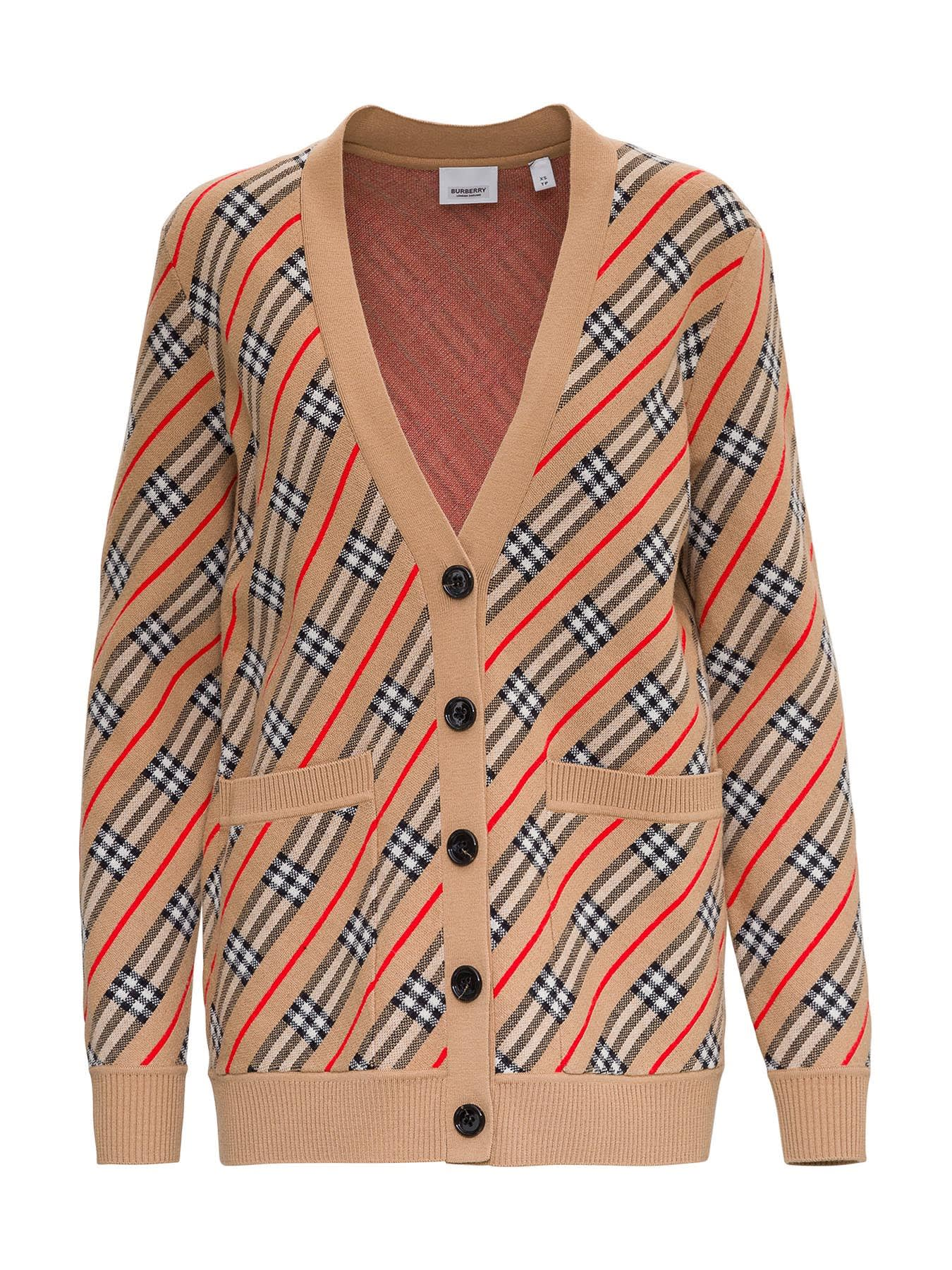 Burberry WOOL BLEND CARDIGAN WITH STRIPE PATTERN