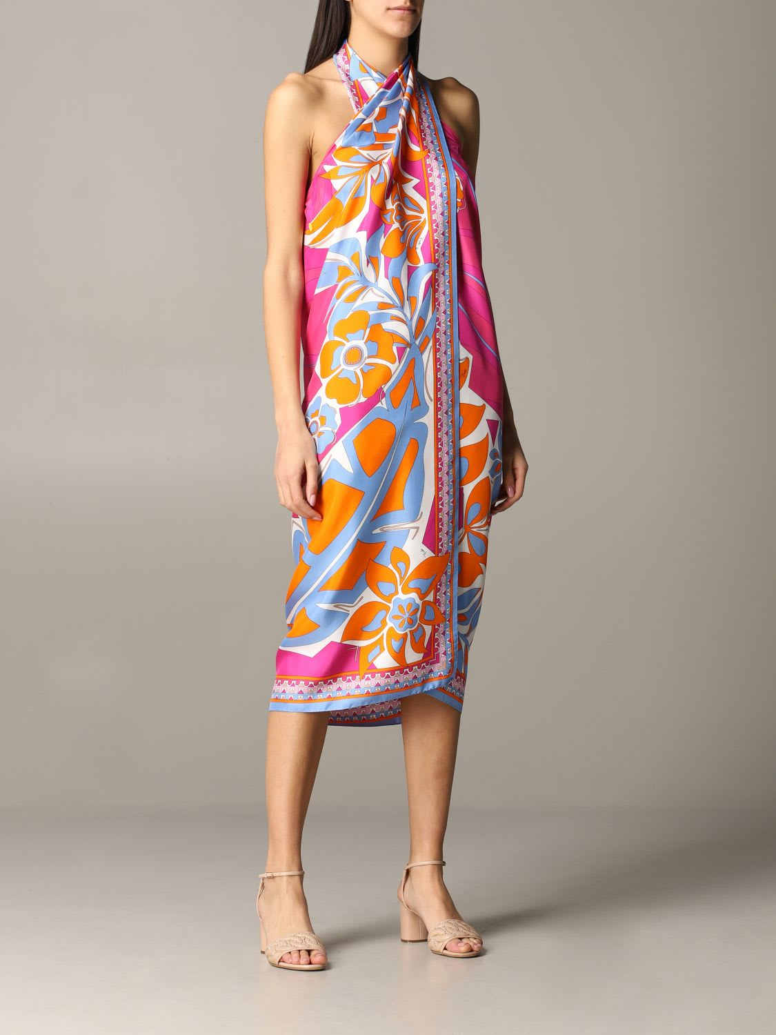 Buy Emilio Pucci Dress Emilio Pucci Sarong Dress In Silk Twill With Samoa Print online, shop Emilio Pucci with free shipping
