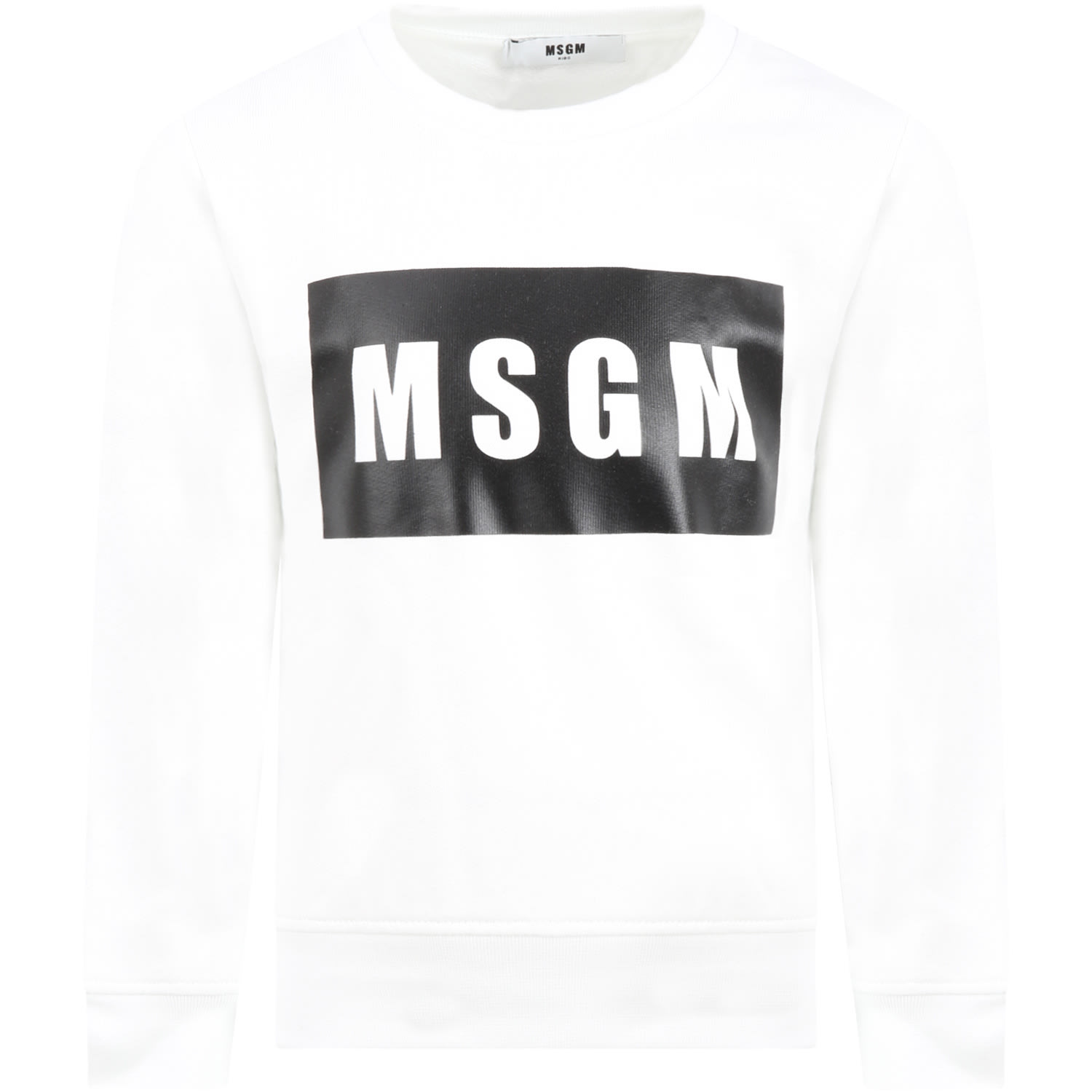 Msgm WHITE SWEATSHIRT FOR KIDS WITH LOGO