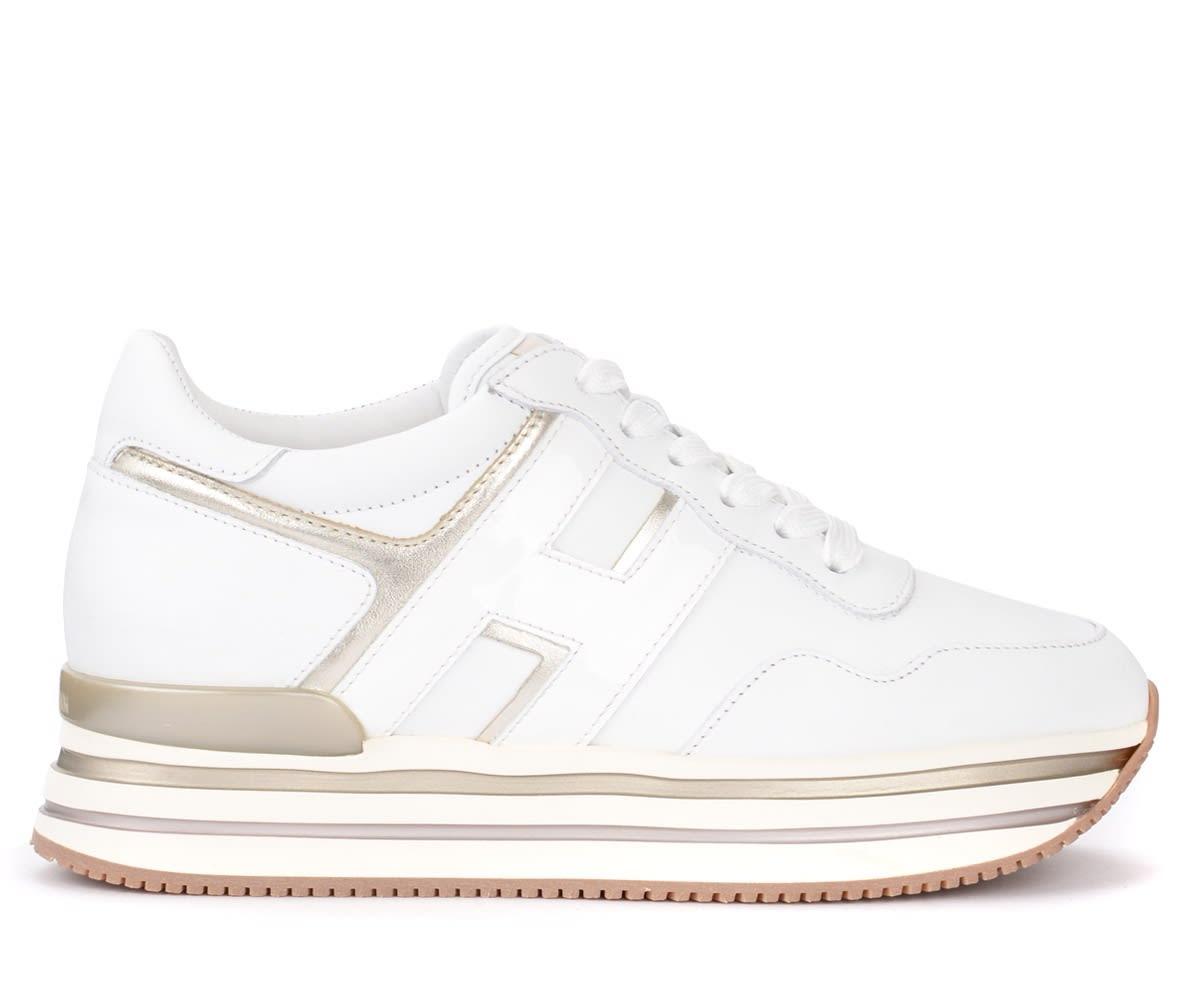 Sneaker Hogan H438 In Pelle Bianca Con Dettagli Platino