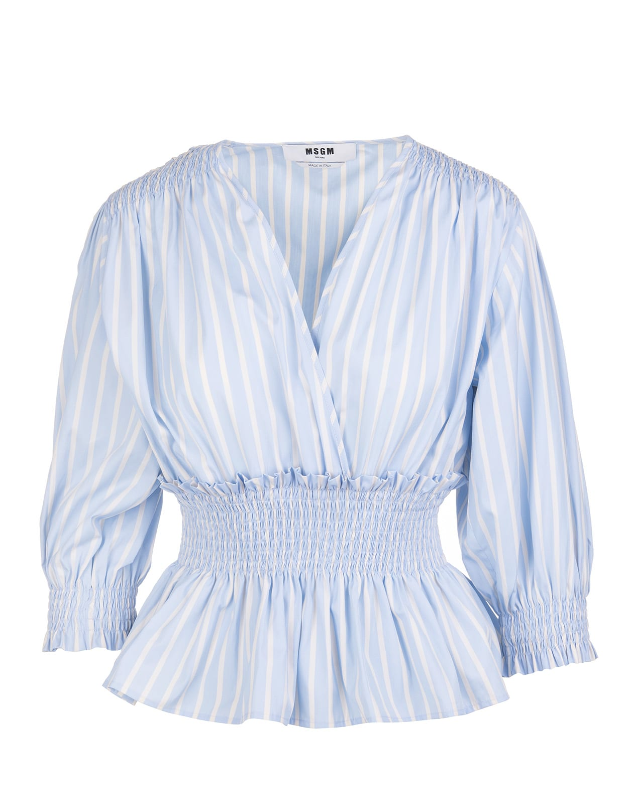 Msgm BLU STRIPED V-NECK PEPLUM BLOUSE