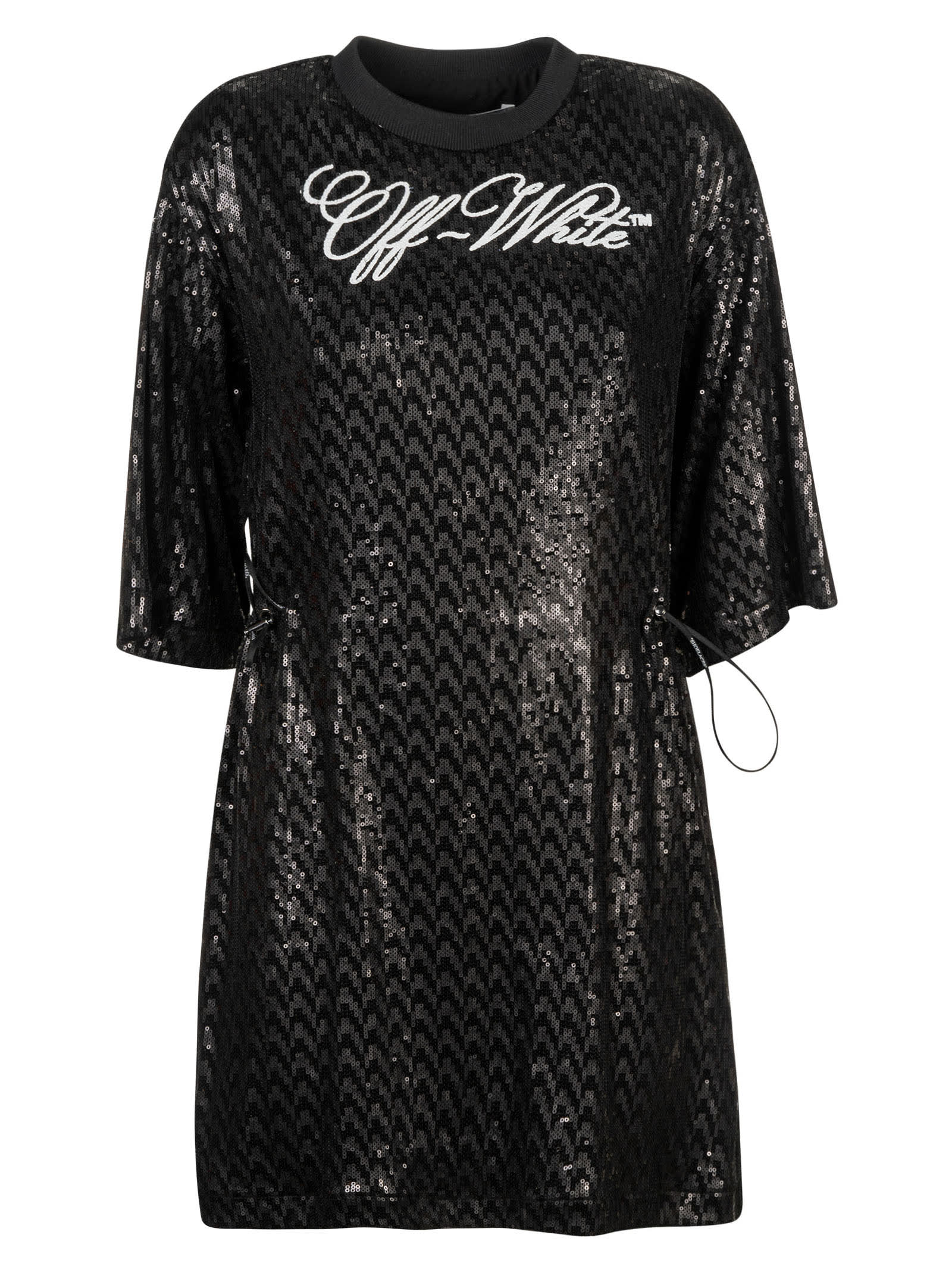 Buy Off-White Paillettes Logo Coulisse Dress online, shop Off-White with free shipping