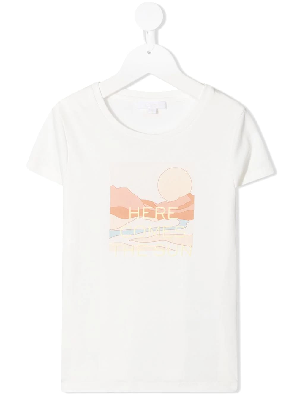 Chloé Kids' Printed Cotton T-shirt In White In Bianco Sporco