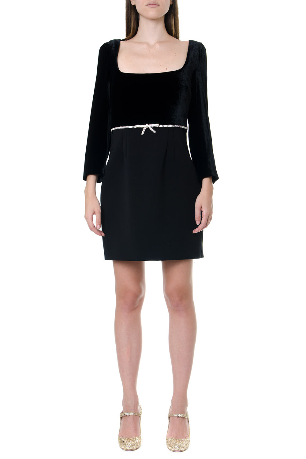 Miu Miu Black Crepe & Velvet Short Dress