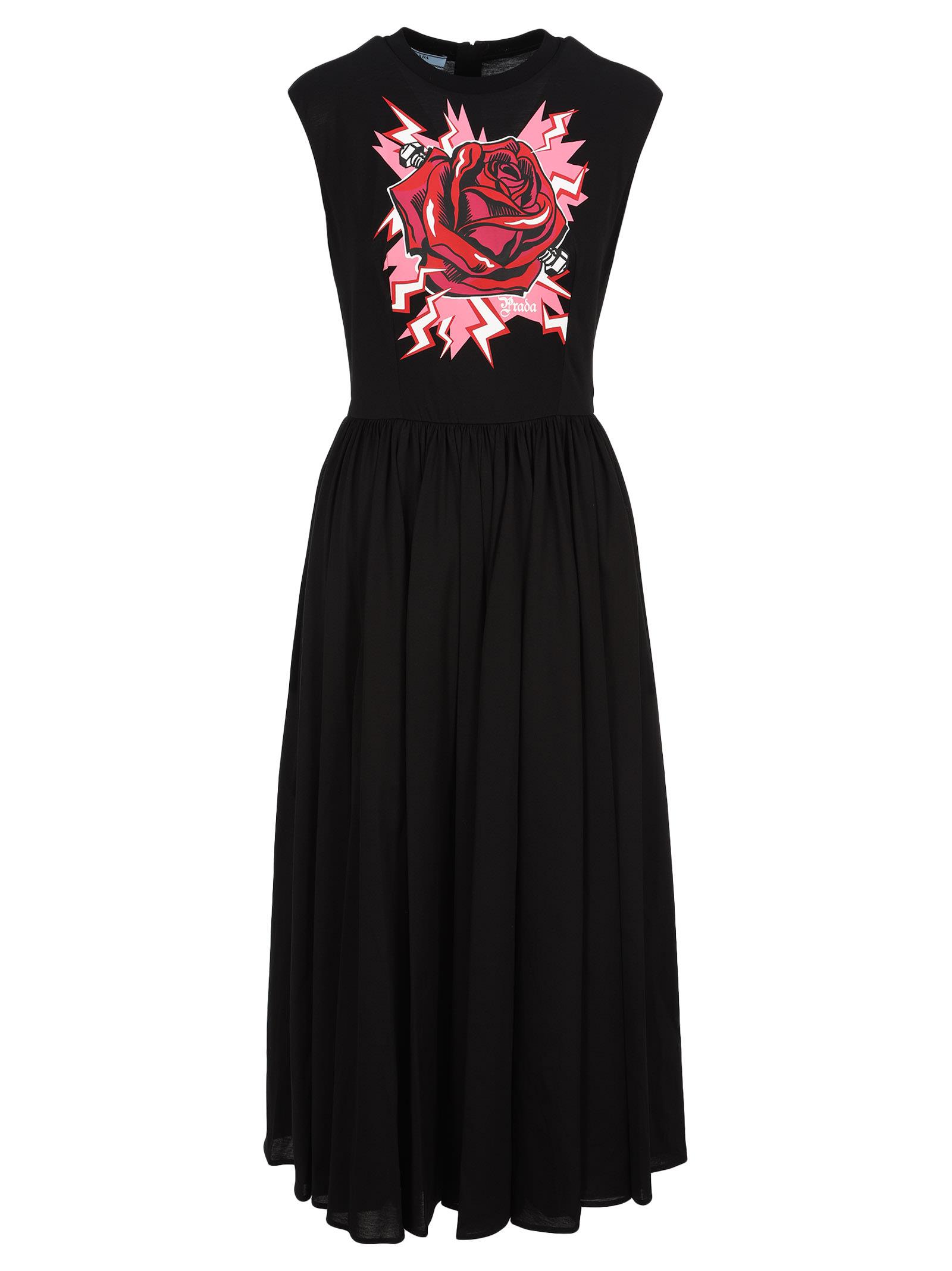 Buy Prada Rose Maxi Dress online, shop Prada with free shipping