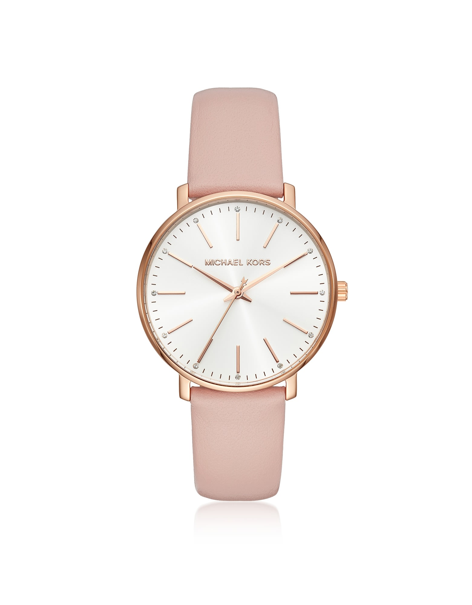Michael Kors WOMENS ROSE GOLD-TONE AND BLUSH LEATHER PYPER WATCH