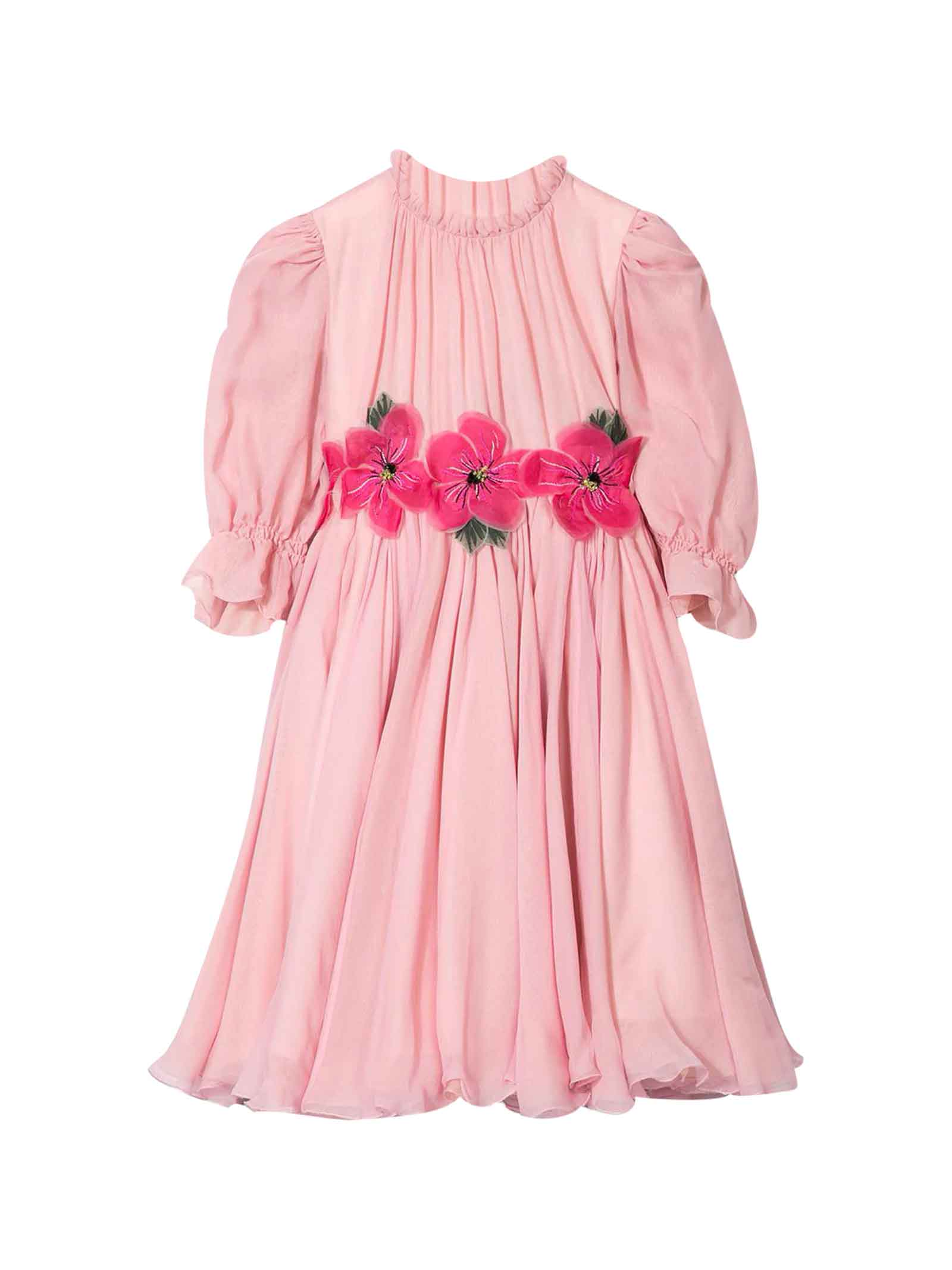 Buy Dolce & Gabbana Pink Dress With Embroidered Flowers Dolce & gabbana Kids online, shop Dolce & Gabbana with free shipping