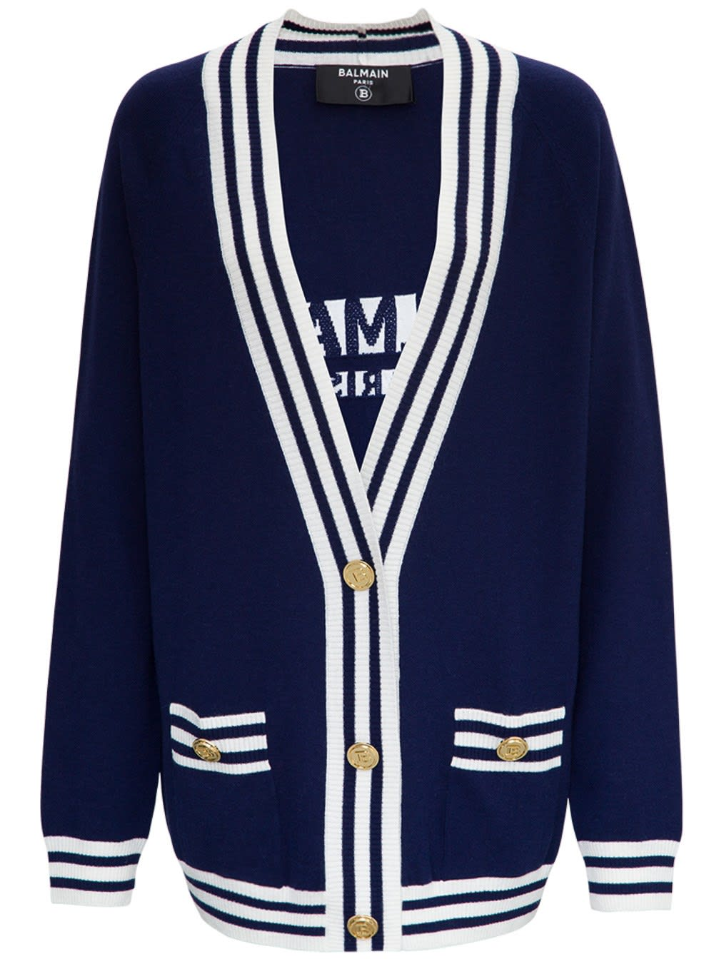 Balmain BLUE CARDIGAN IN WOOL BLEND WITH BACK LOGO