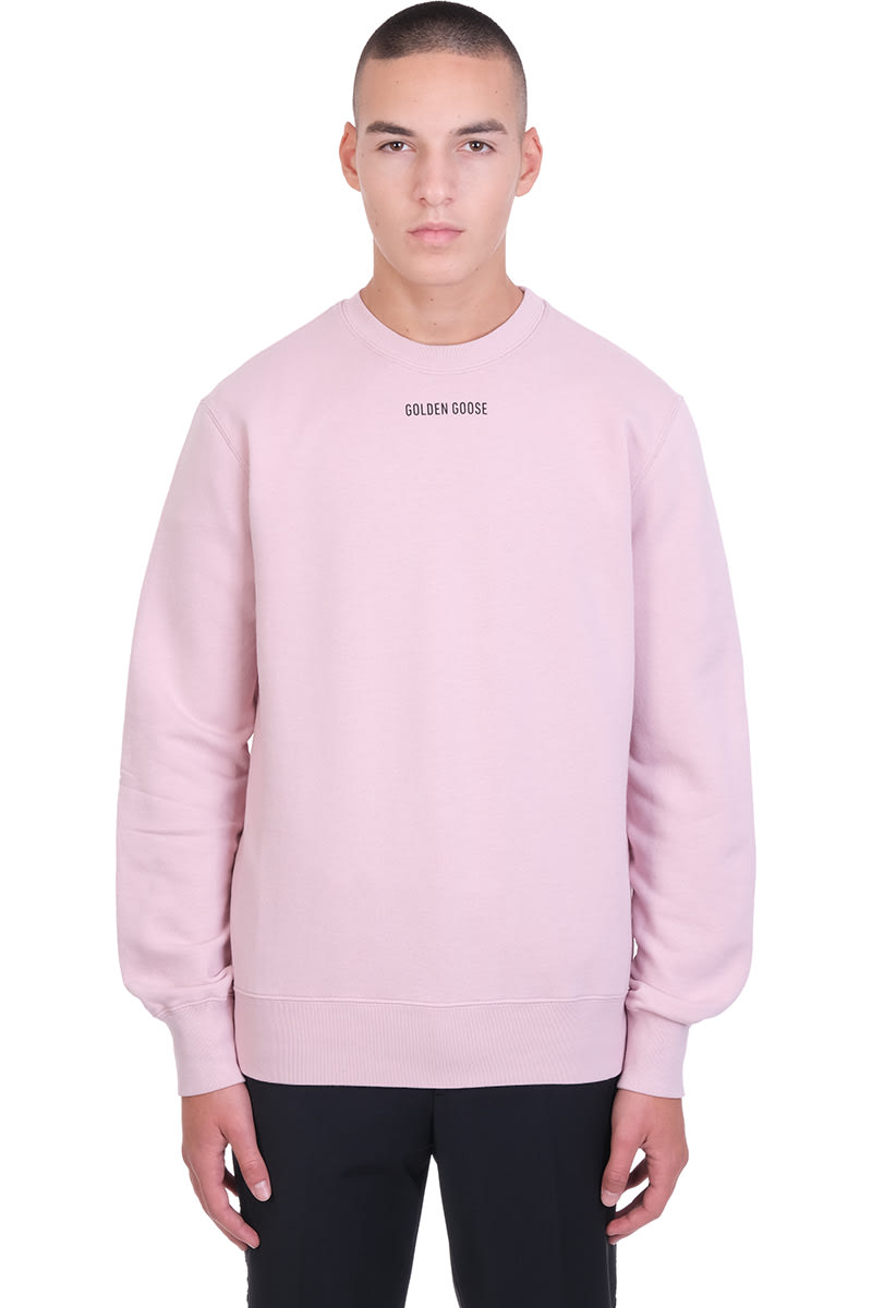 Archibald Sweatshirt in rose-pink cotton, round neck, long sleeves, logo print on front, back print, ribbed cuffs and bottom, 100% cotton, Model is 190 cm and wears size LComposition: Cotton