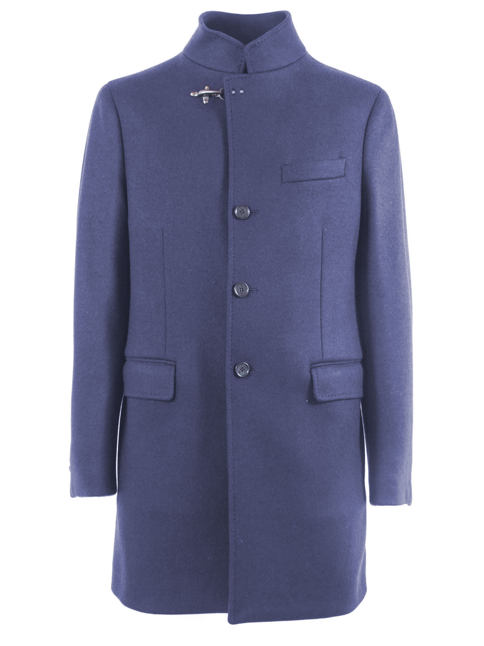 Blue Wool Button-Up Coat Featuring A Buckle Fastening, A Front Button Fastening, Long Sleeves, A Tailored Design, A Broad Welt Chest Pocket, Front Flap Pockets And A Rear Central Vent. Composition: 70% Wool, 25% Polyamide, 5% Other Fibres