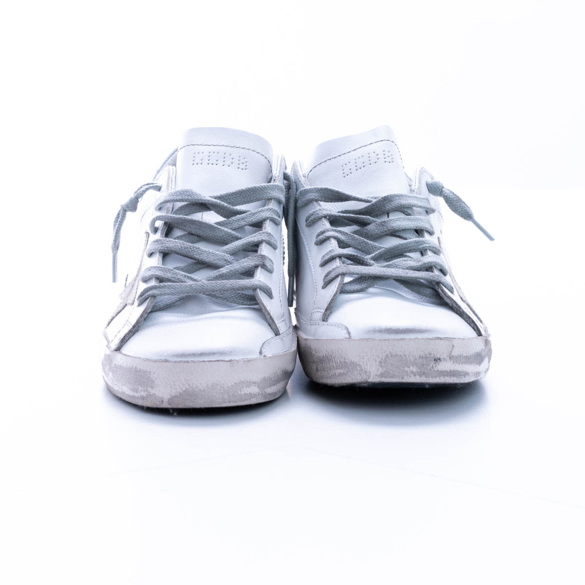 Golden Goose Super-star Sneakers In White - Ice - Silver