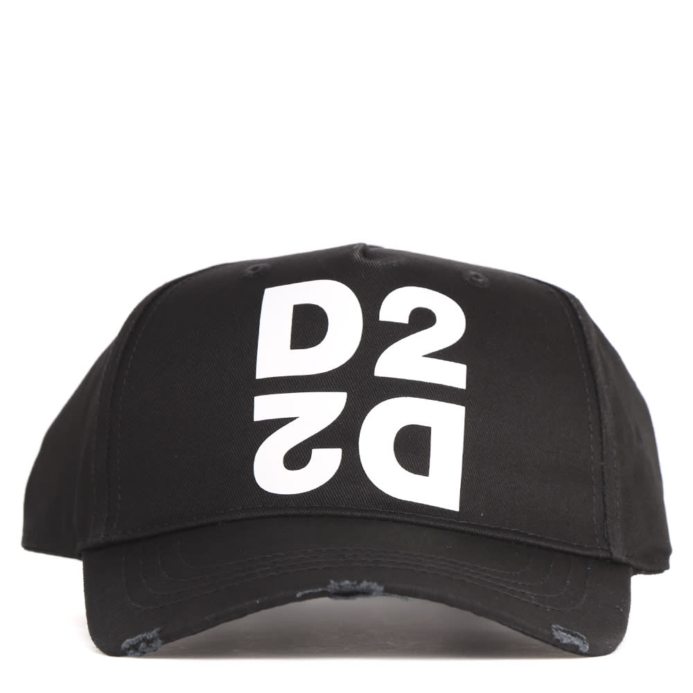 Dsquared2 Black Cotton Mirrored D2 Hat