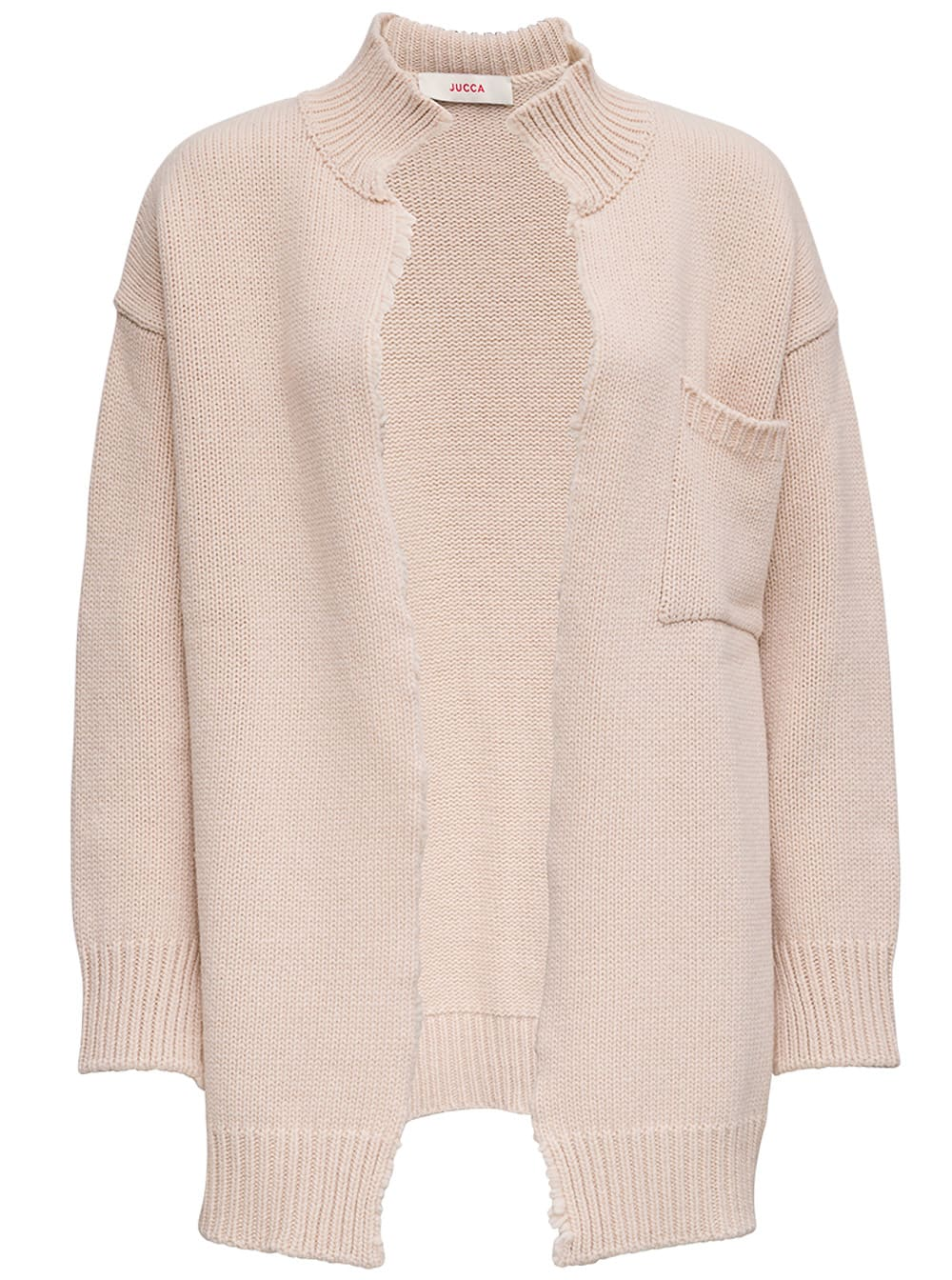 Jucca Beige Wool Cardigan With Fringed Edges