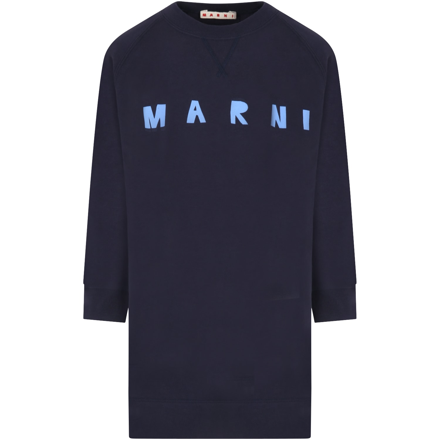 Marni Cottons BLUE DRESS FOR GIRL WITH LOGO