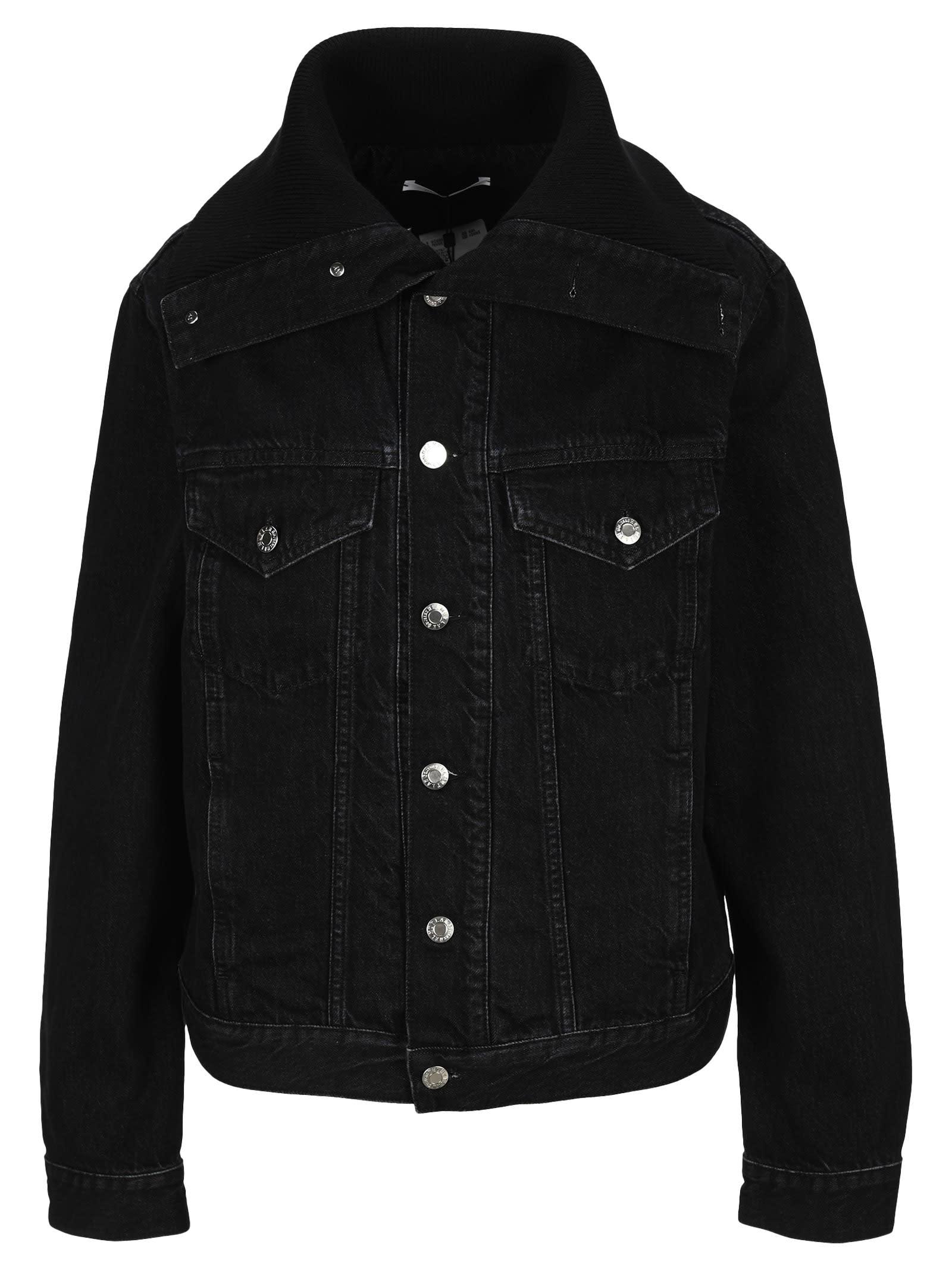 Helmut Lang Knit Collar Trucker Jacket In Black