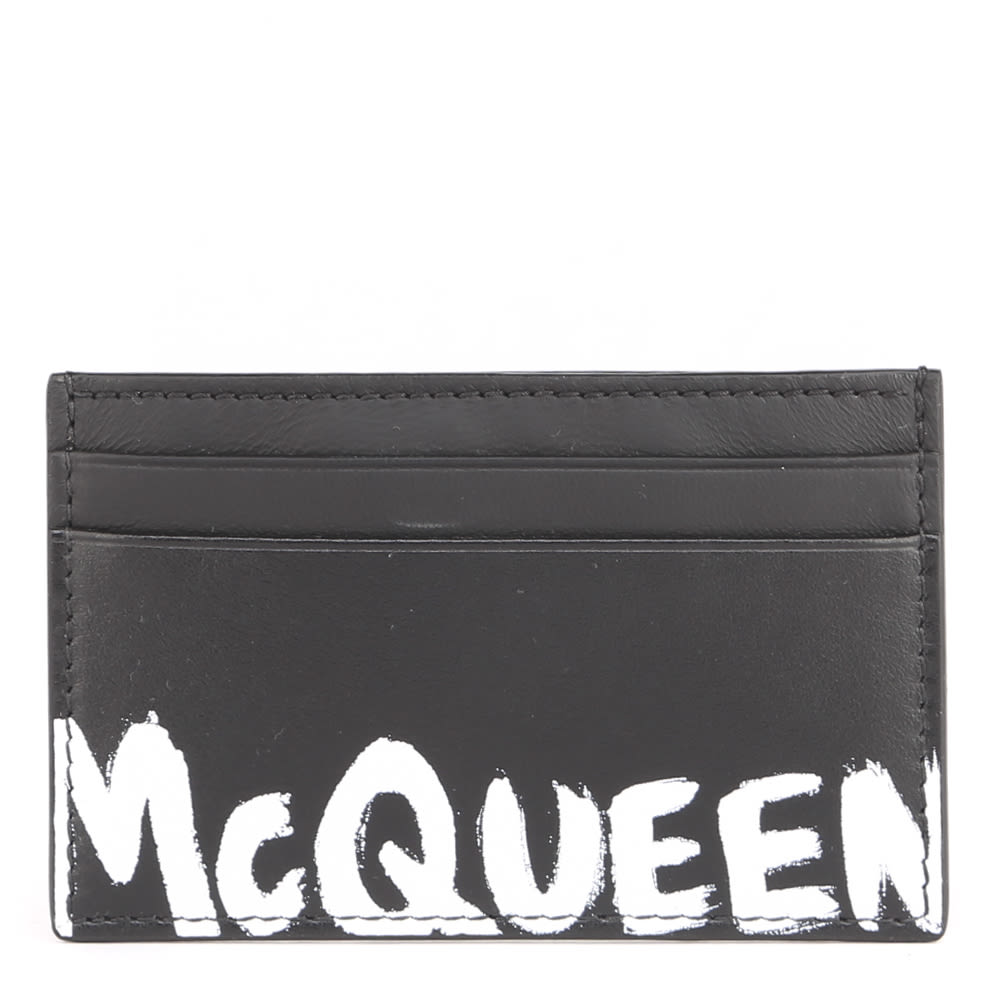 Alexander McQueen Leather Card Holder With Mcqueen Paint Effect Logo