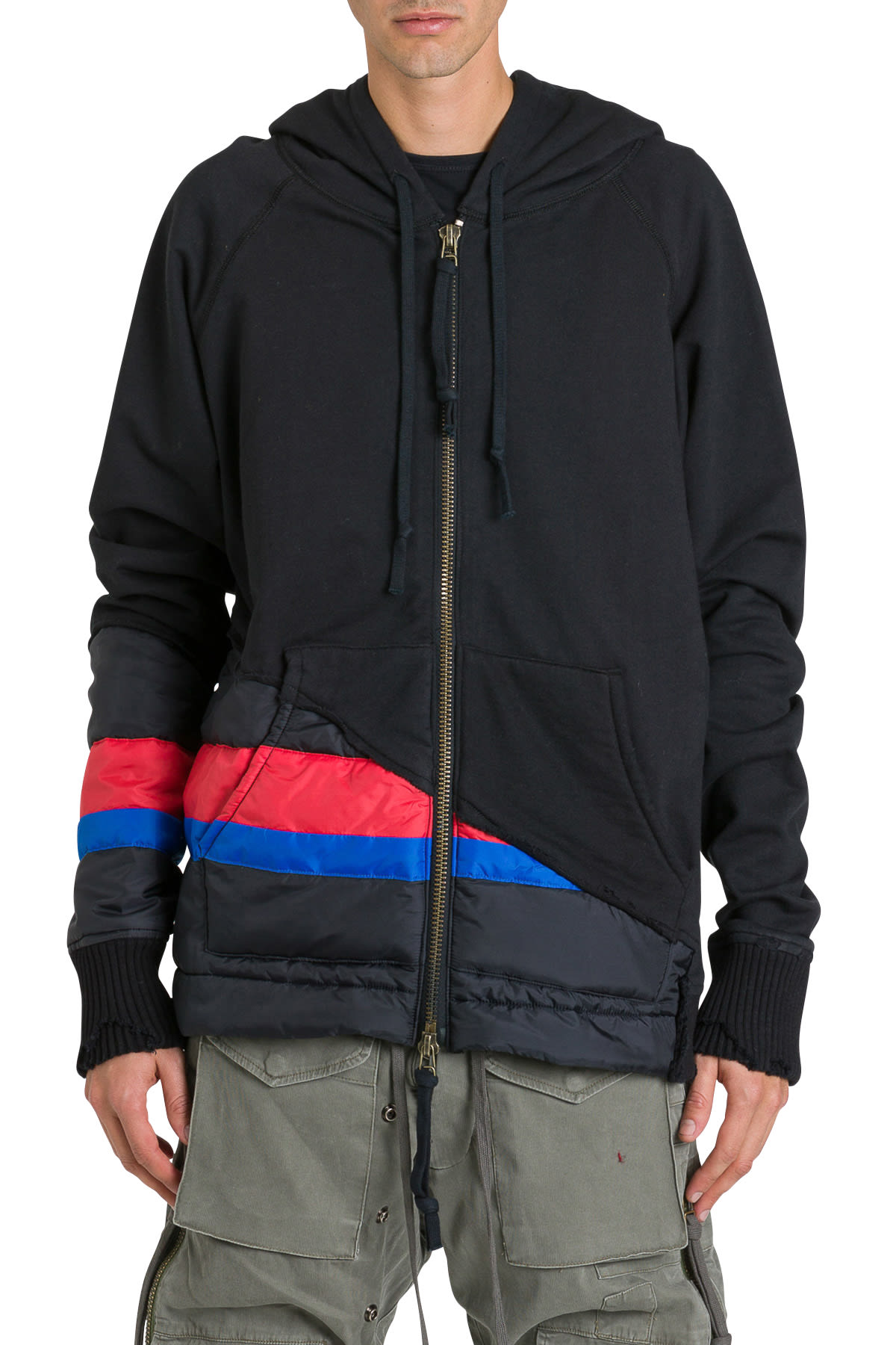 Greg Lauren Tops HOODIE WITH NYLON INSERT