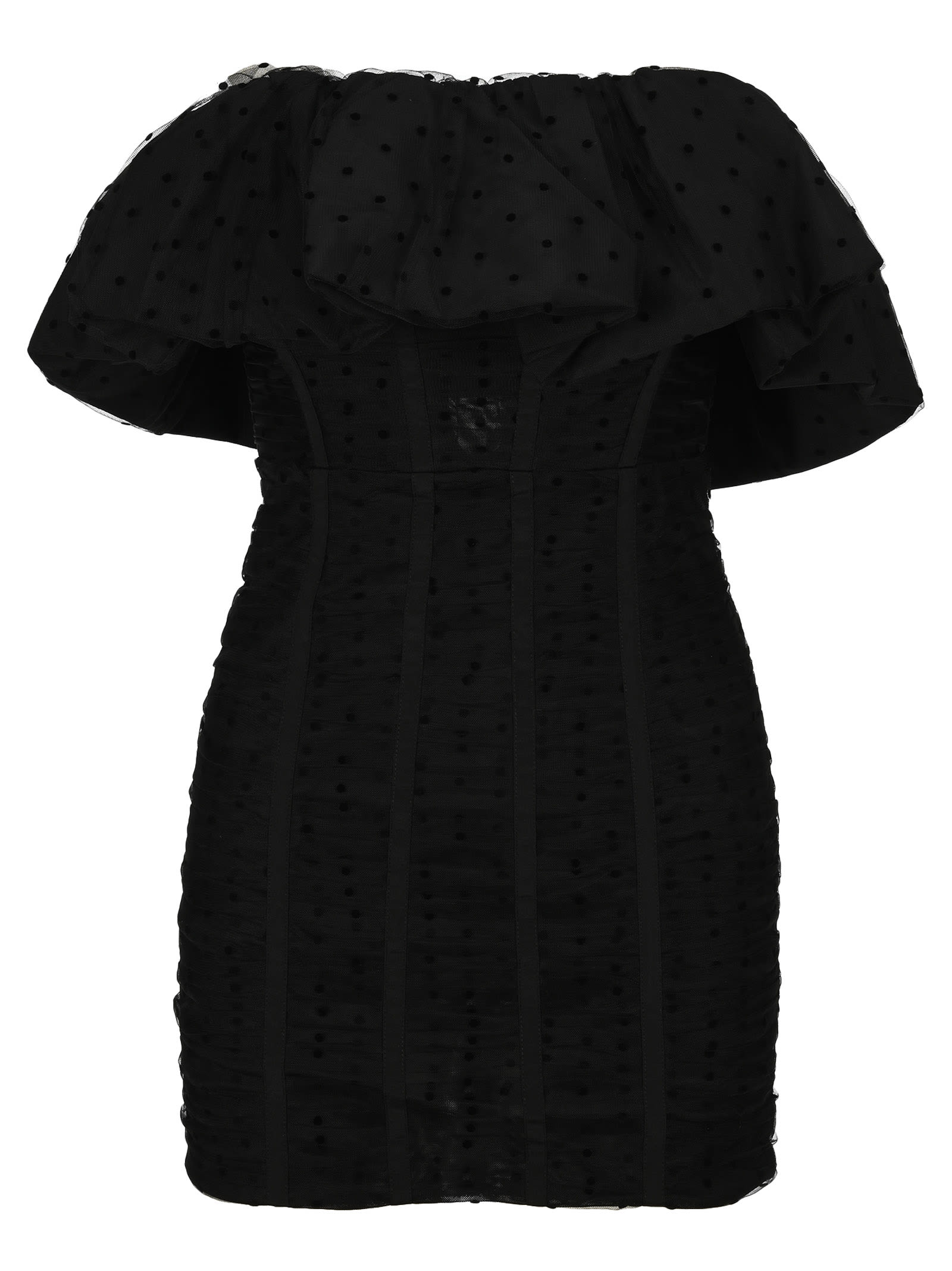 Buy Self Portrait Black Dot Mesh Frill Mini Dress online, shop self-portrait with free shipping