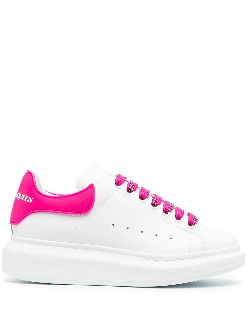 Alexander McQueen Woman White Oversize Sneakers With Fuchsia Rubber Spoiler