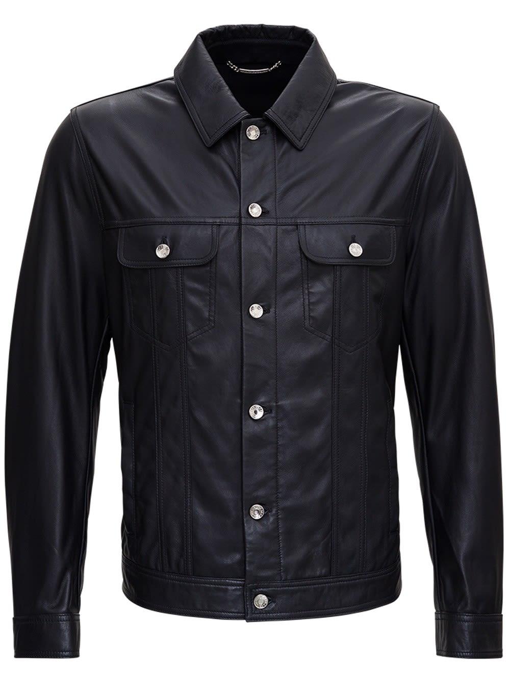 Dolce & Gabbana Leathers BLACK LEATHER JACKET