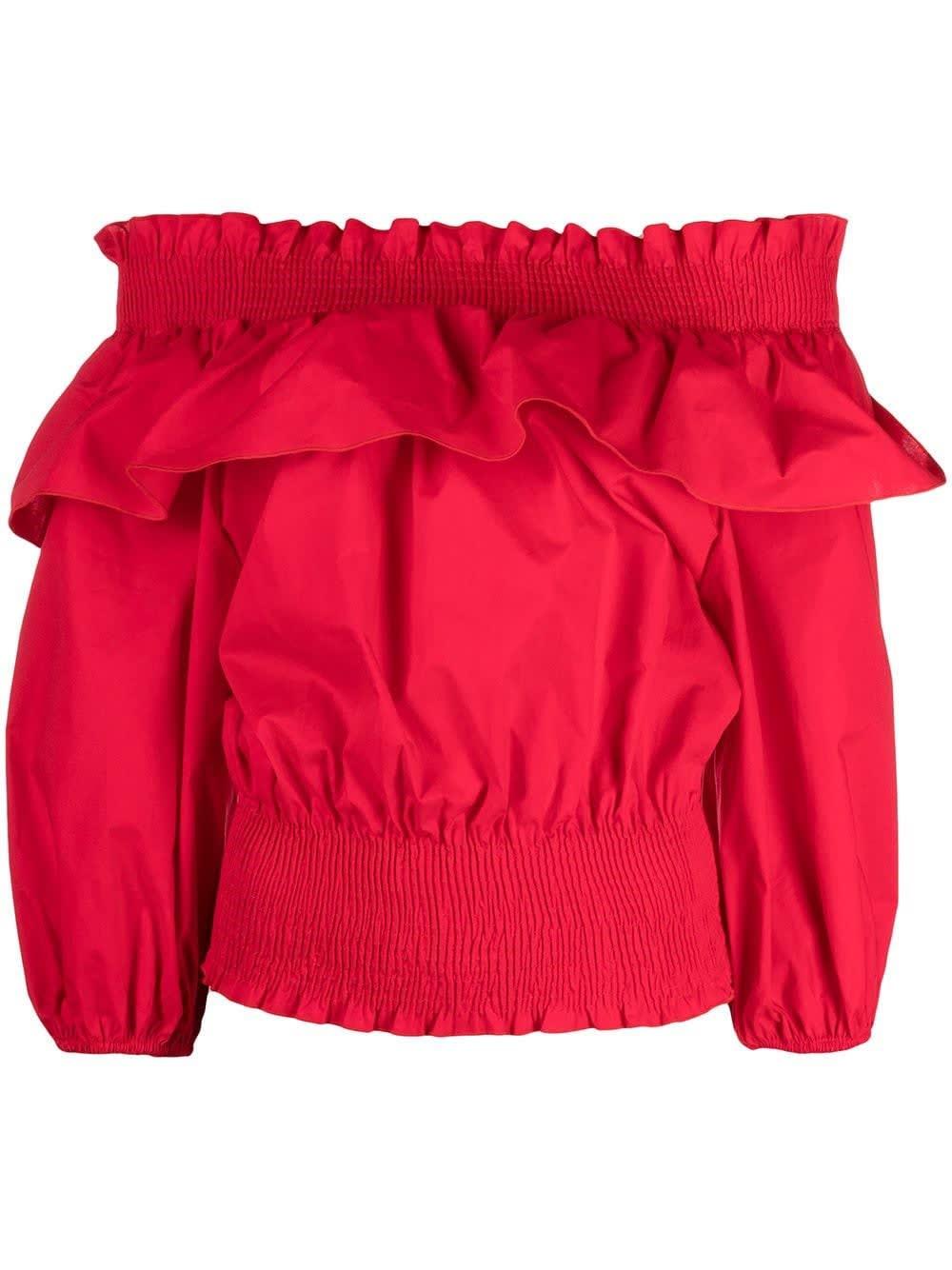Liu •jo Cottons RED COTTON POPLIN TOP WITH RUFFLES