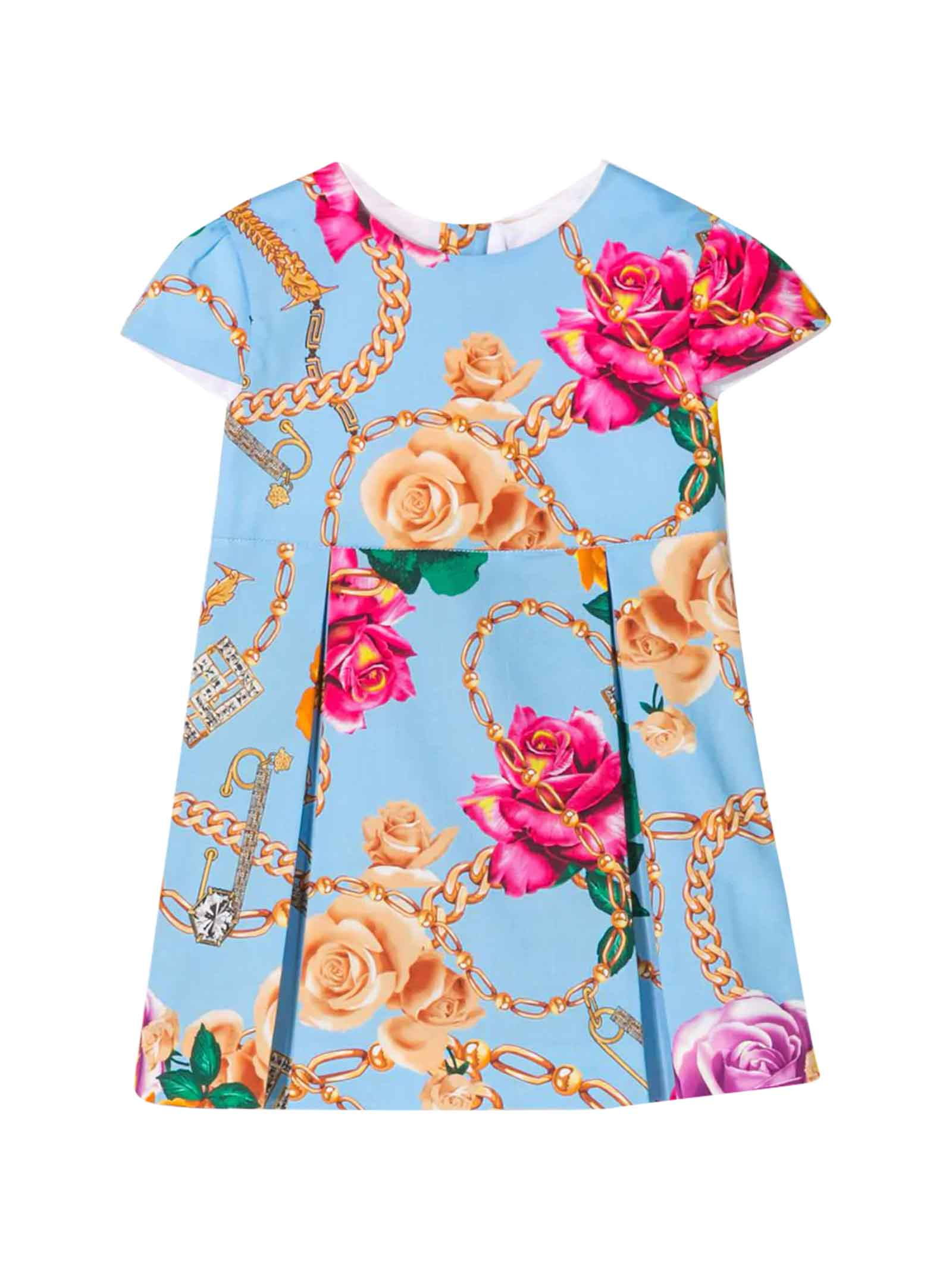 Buy Young Versace Blue Dress With Floreal Press online, shop Young Versace with free shipping