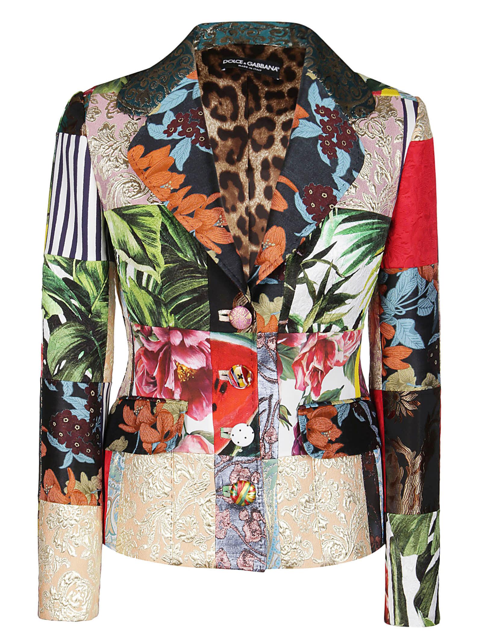 Dolce & Gabbana Coats BLAZER IN MISTO COTONE MULTICOLOR