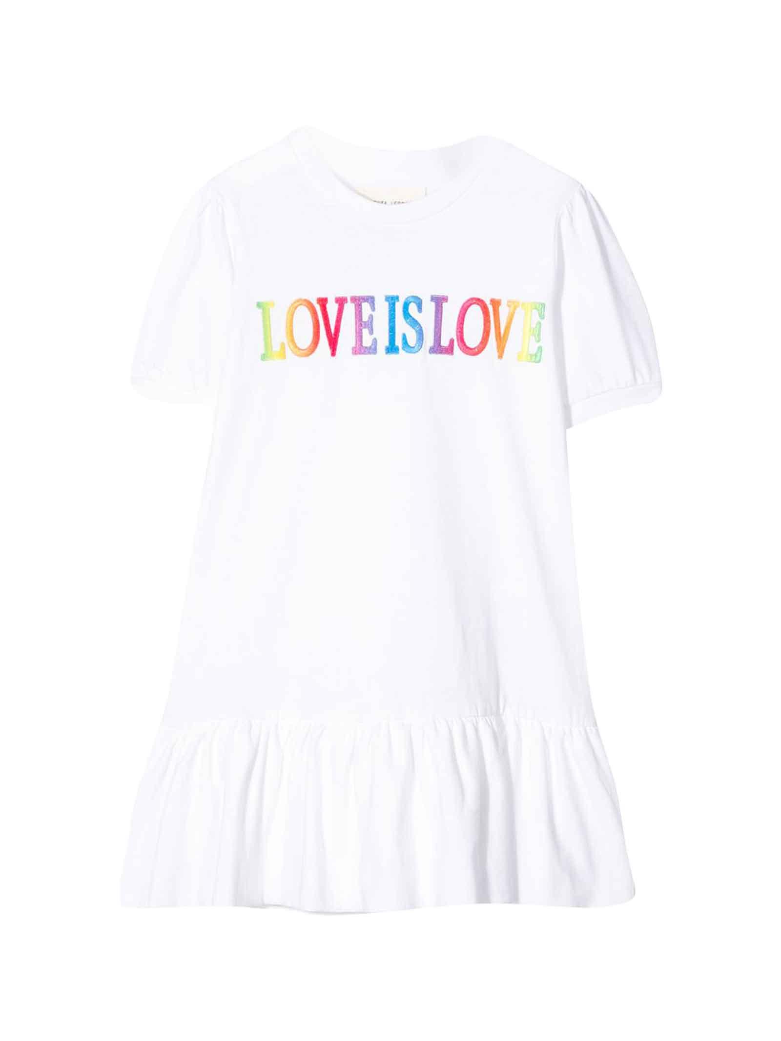 Buy Alberta Ferretti White Dress With love Is Love Embroidery online, shop Alberta Ferretti with free shipping