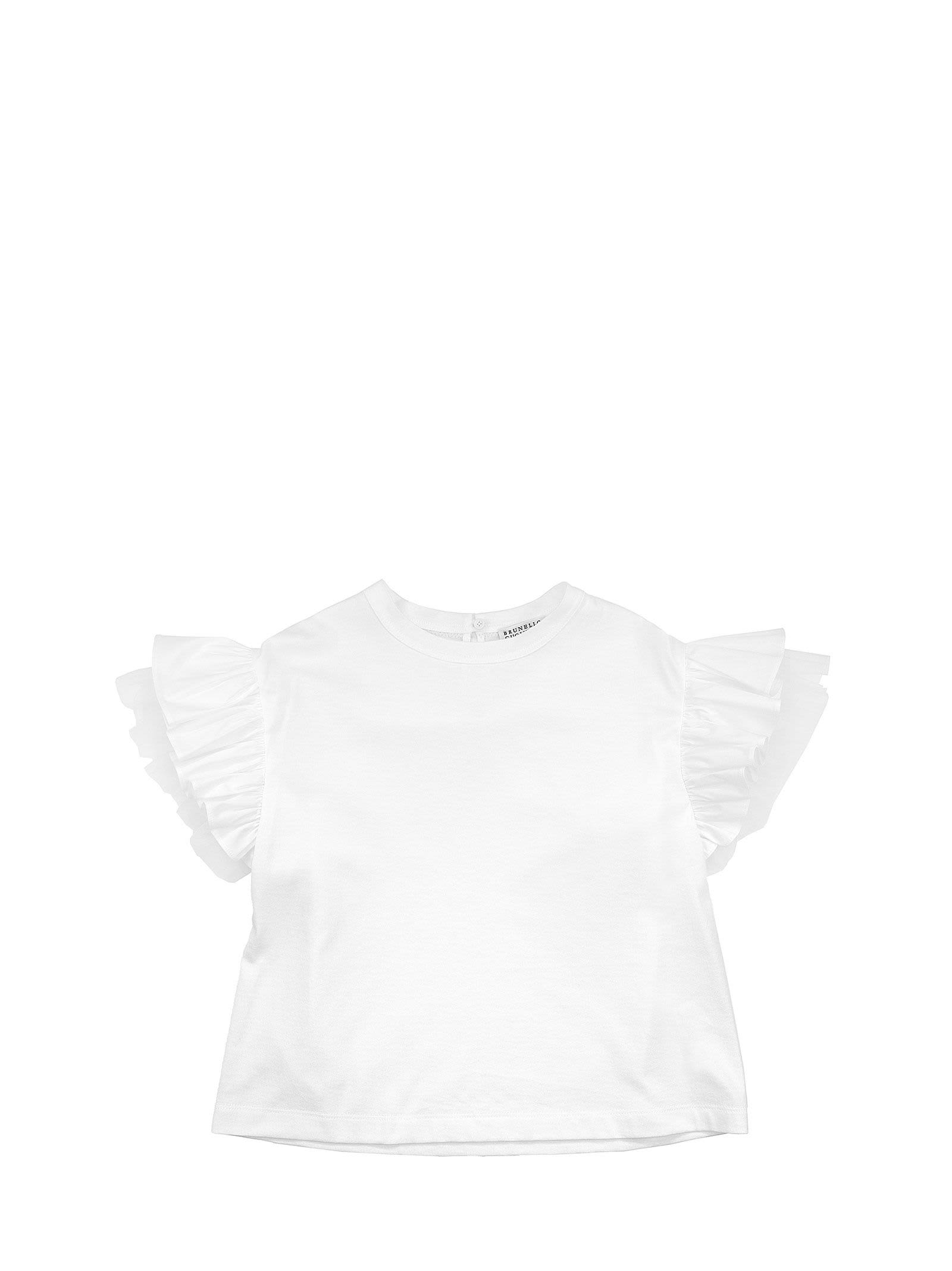 Brunello Cucinelli LIGHTWEIGHT COTTON JERSEY T-SHIRT WITH POPLIN AND TULLE INSERTS