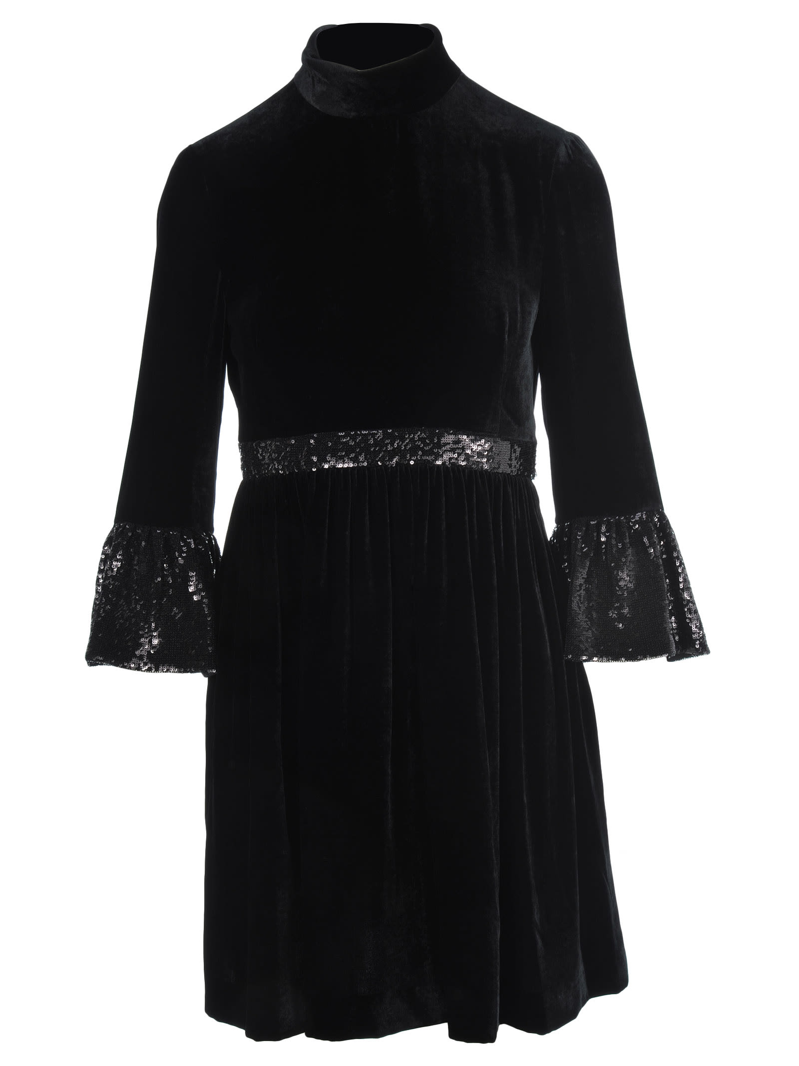Miu Miu Sequins Embellished Velvet Dress