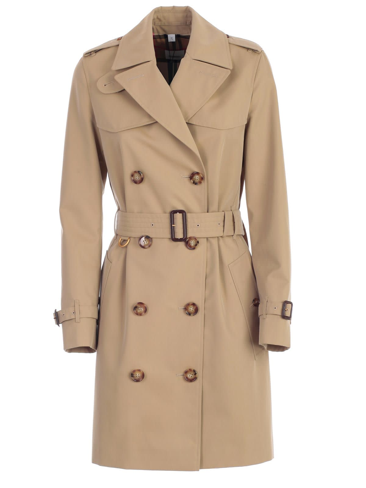 Burberry Islington Short 506 Dk Trench W/belt