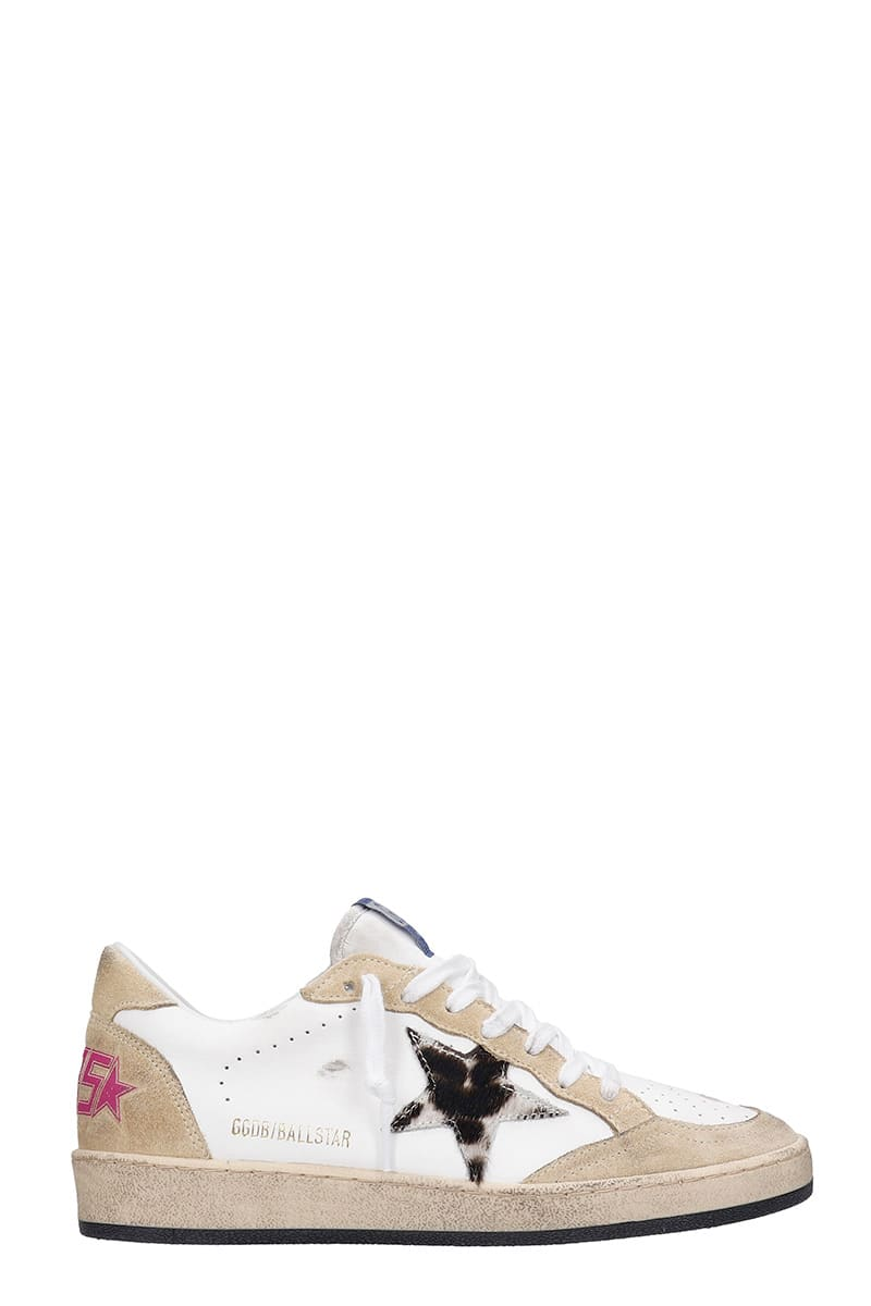Buy Golden Goose Ball Star Sneakers In Beige Leather online, shop Golden Goose shoes with free shipping