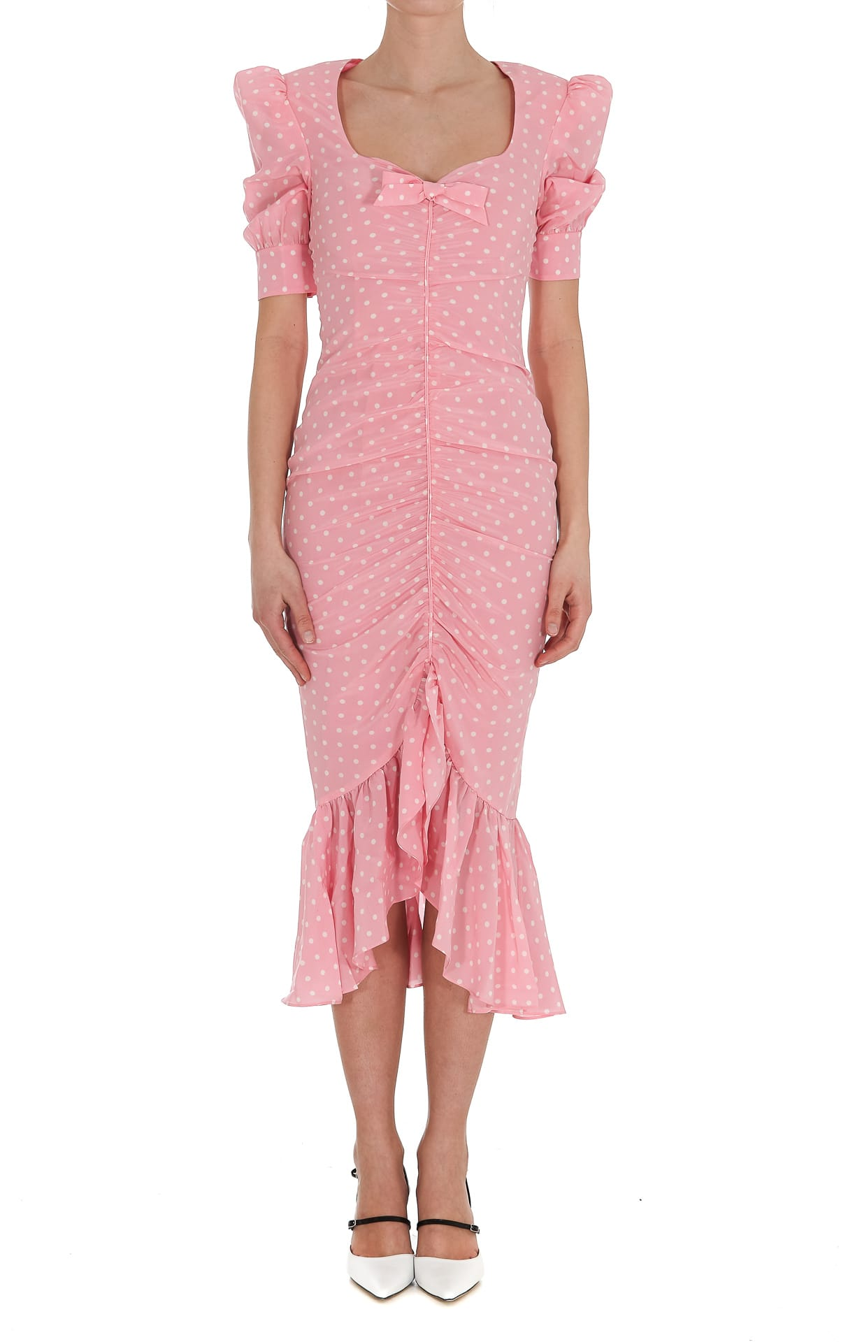 Buy Alessandra Rich Polka Dot Silk Ruched Dress online, shop Alessandra Rich with free shipping