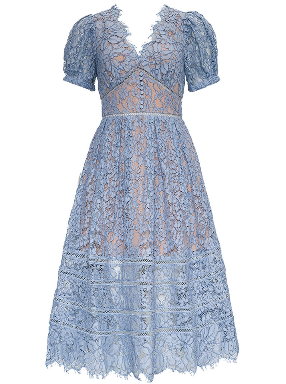 Self-Portrait LACE DRESS WITH PUFF SLEEVES