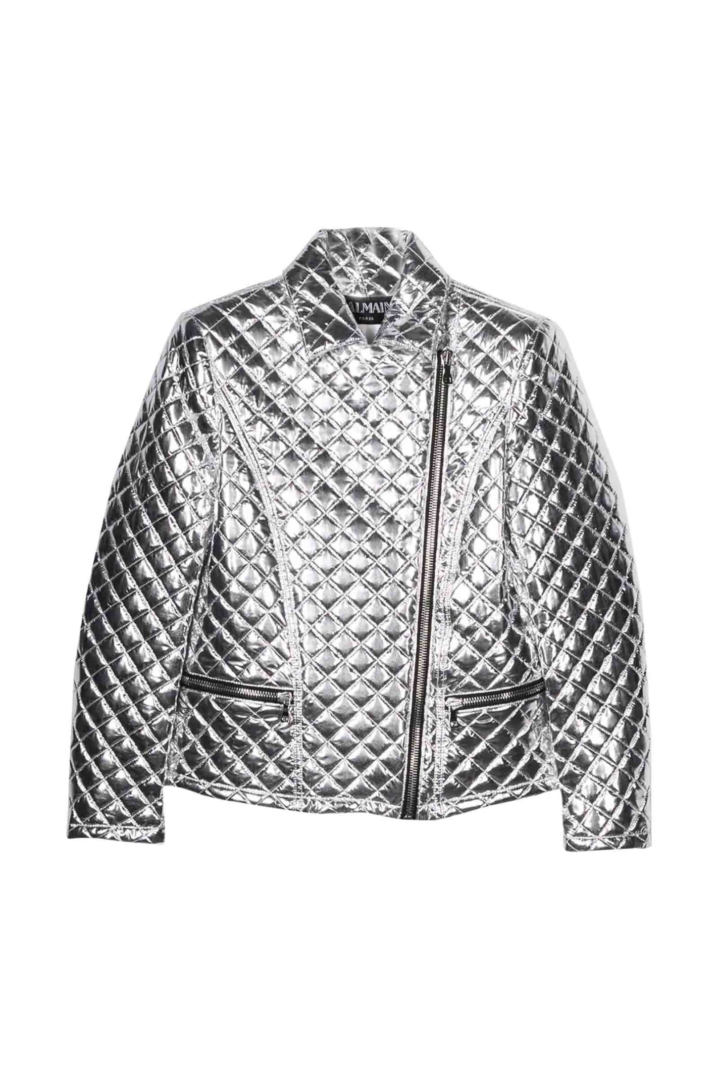 Balmain Kids' Quilted Jacket In Argento