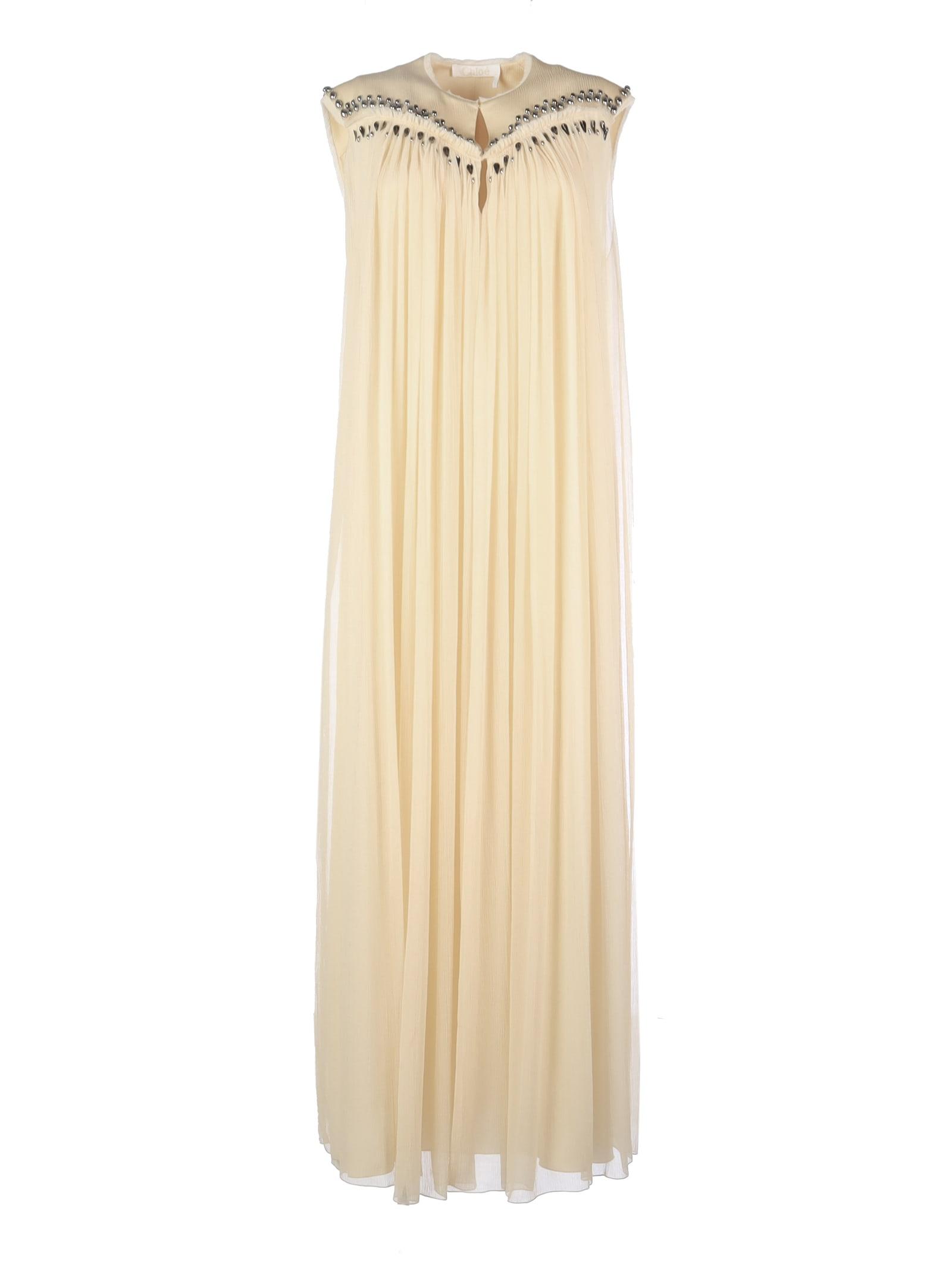 Chloé Long Plisse Cotton Dress