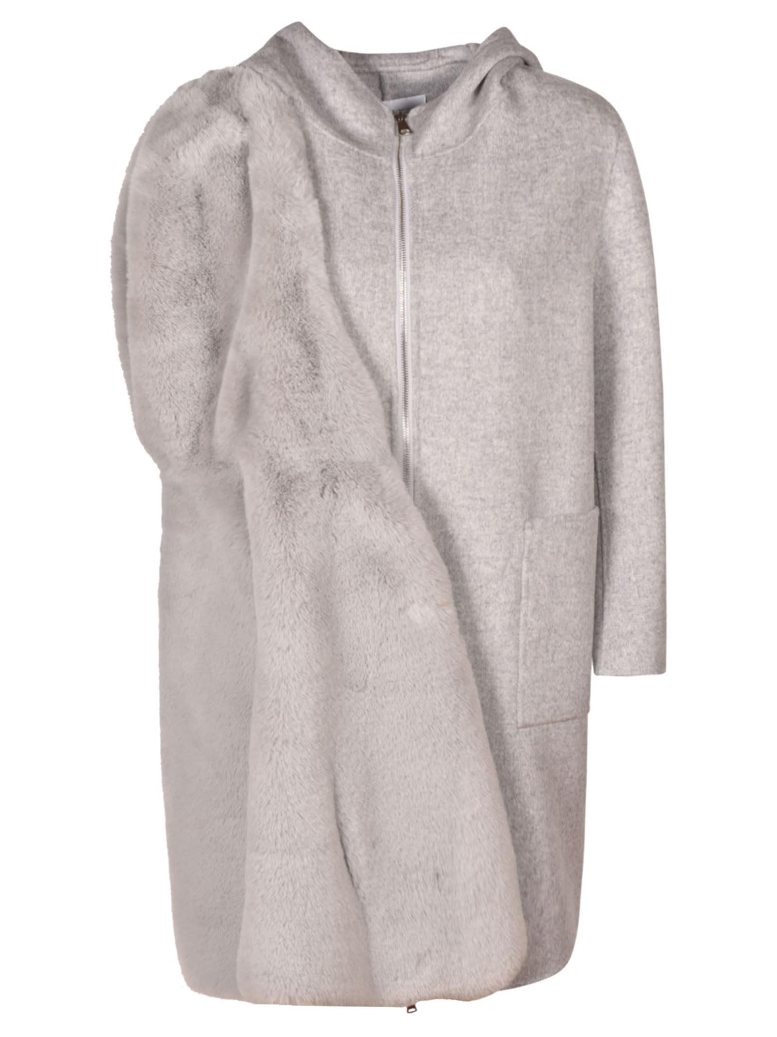 Layered Hooded Zip Coat
