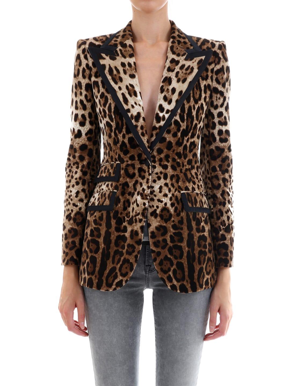 Dolce & Gabbana Velvet Jacket Leo Print