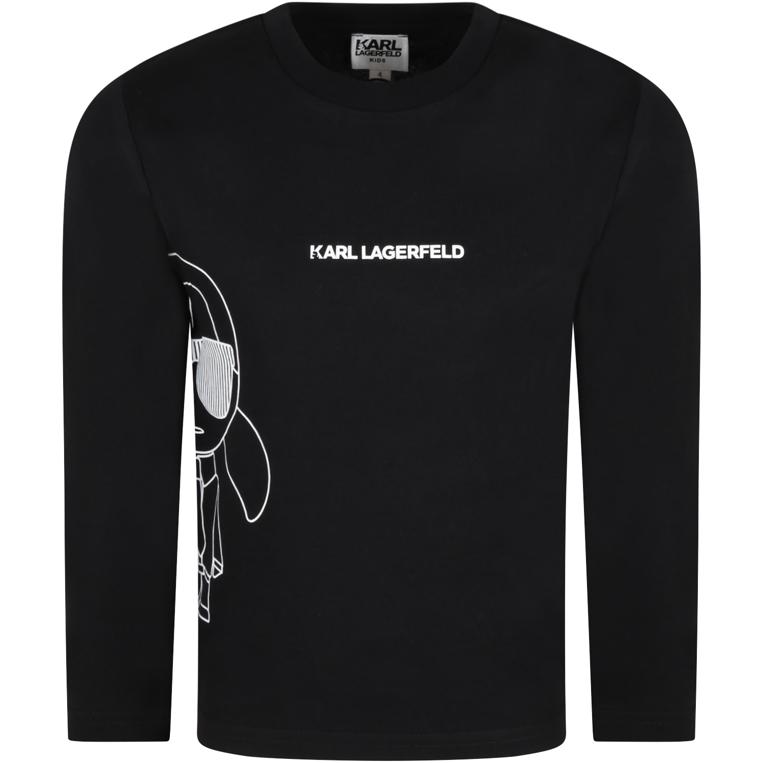 Black T-shirt For Kids With Karl Lagerfeld And Logo