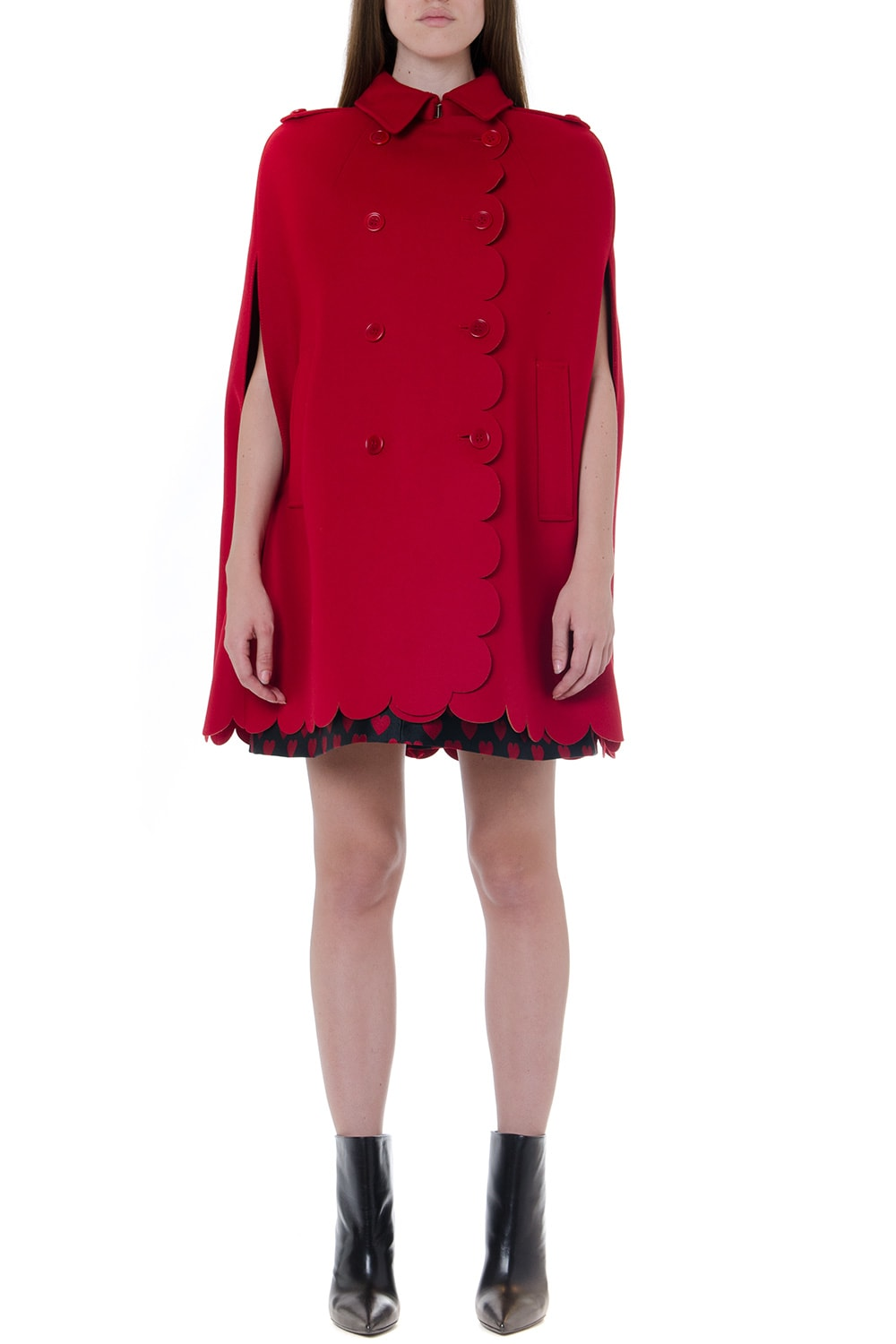 RED Valentino Scalloped Double-breasted Wool-cashmere Blend Cape