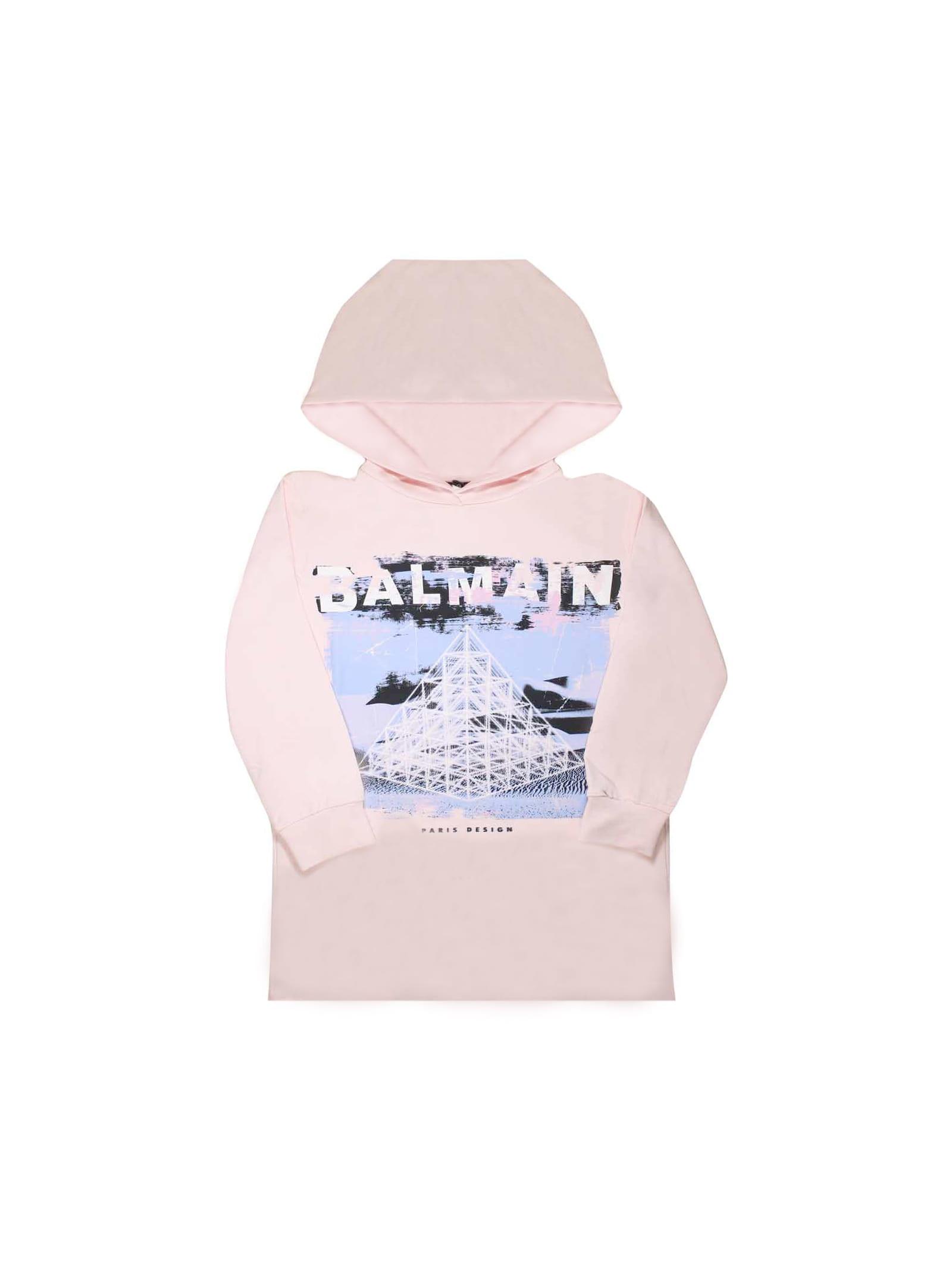 Balmain Pink Sweatshirt Dress Teen