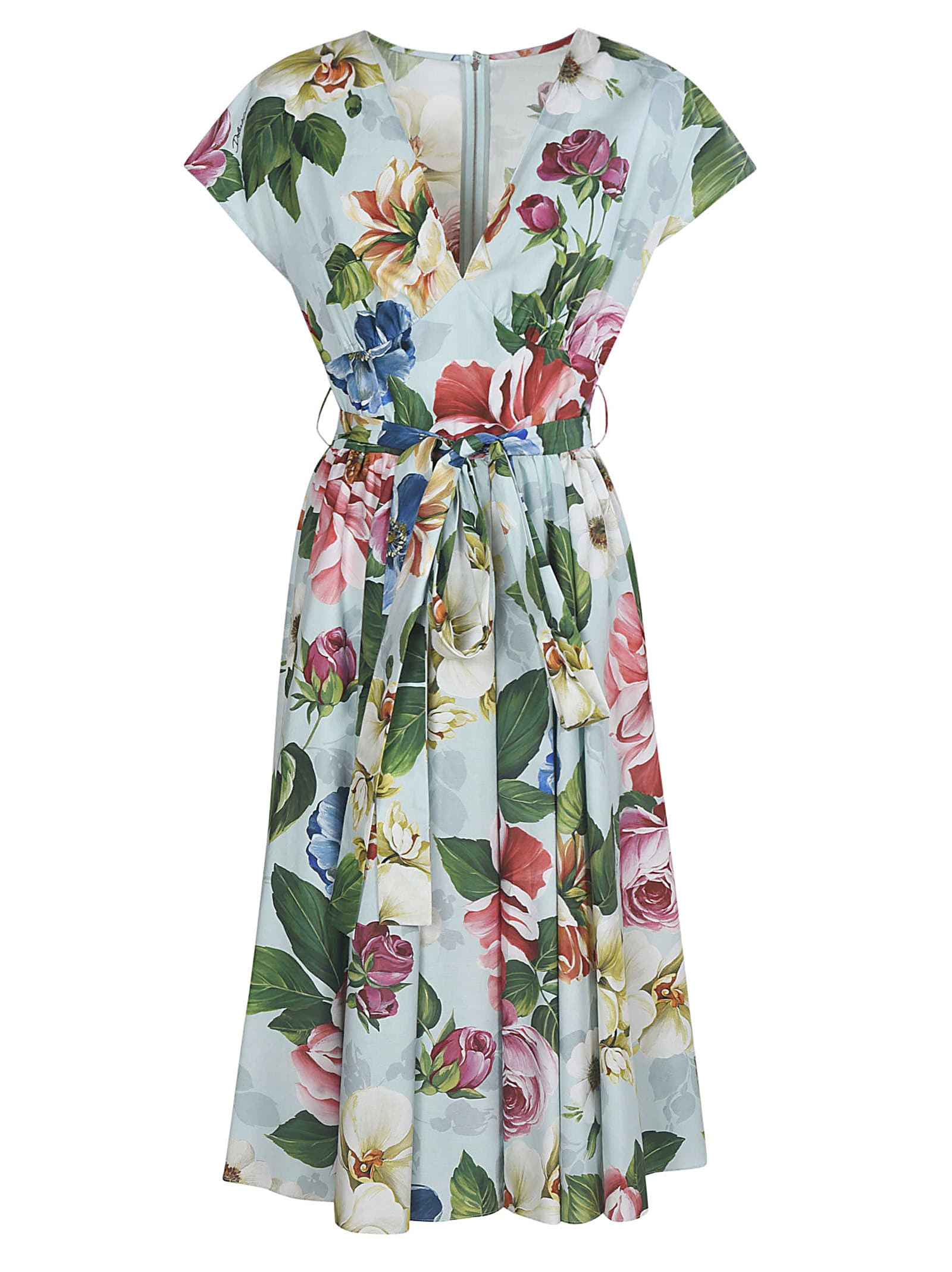 Buy Dolce & Gabbana All-over Floral Print V-neck Dress online, shop Dolce & Gabbana with free shipping
