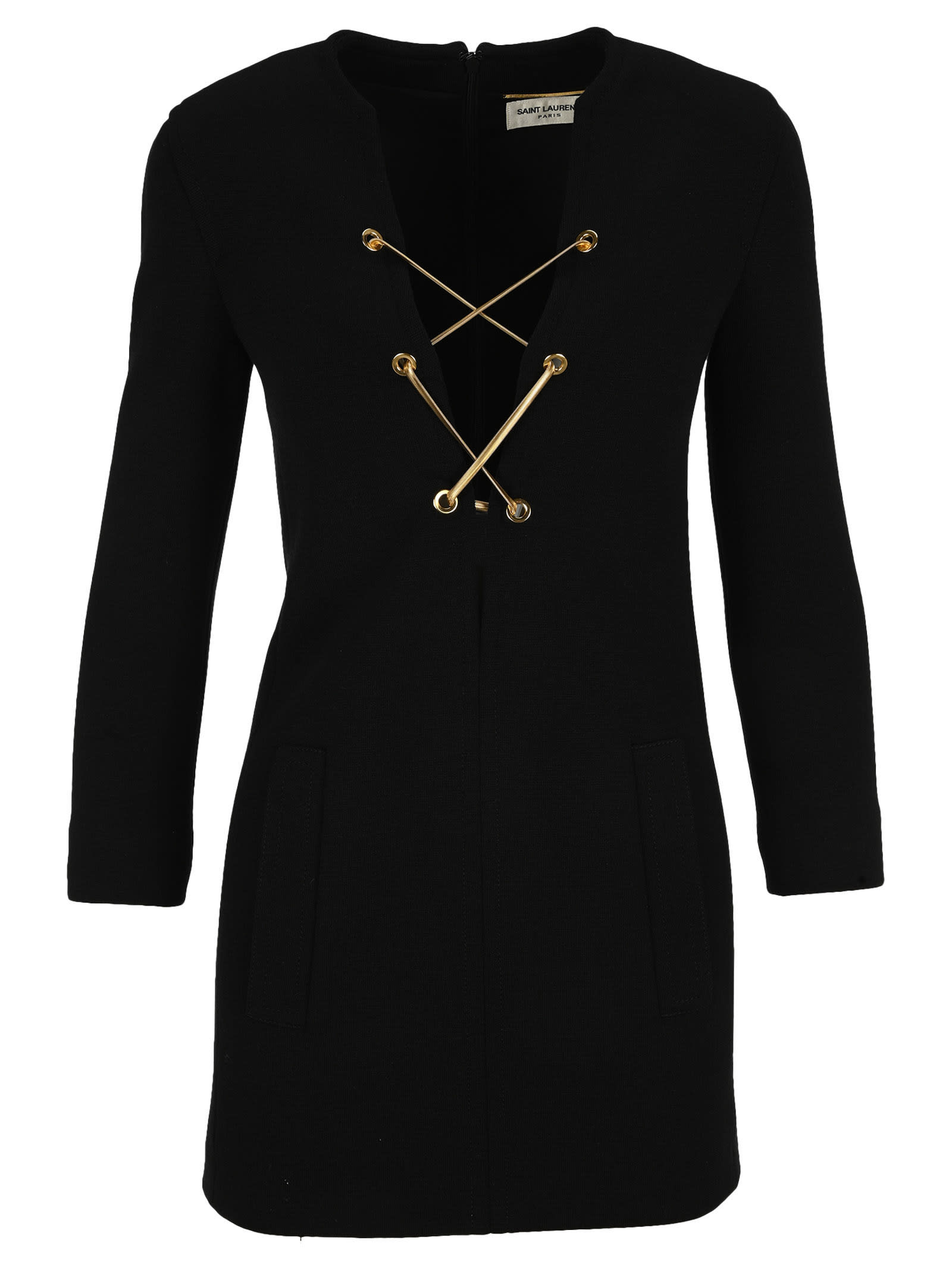 Buy Saint Laurent Lace Up Mini Dress In Wool Jersey online, shop Saint Laurent with free shipping