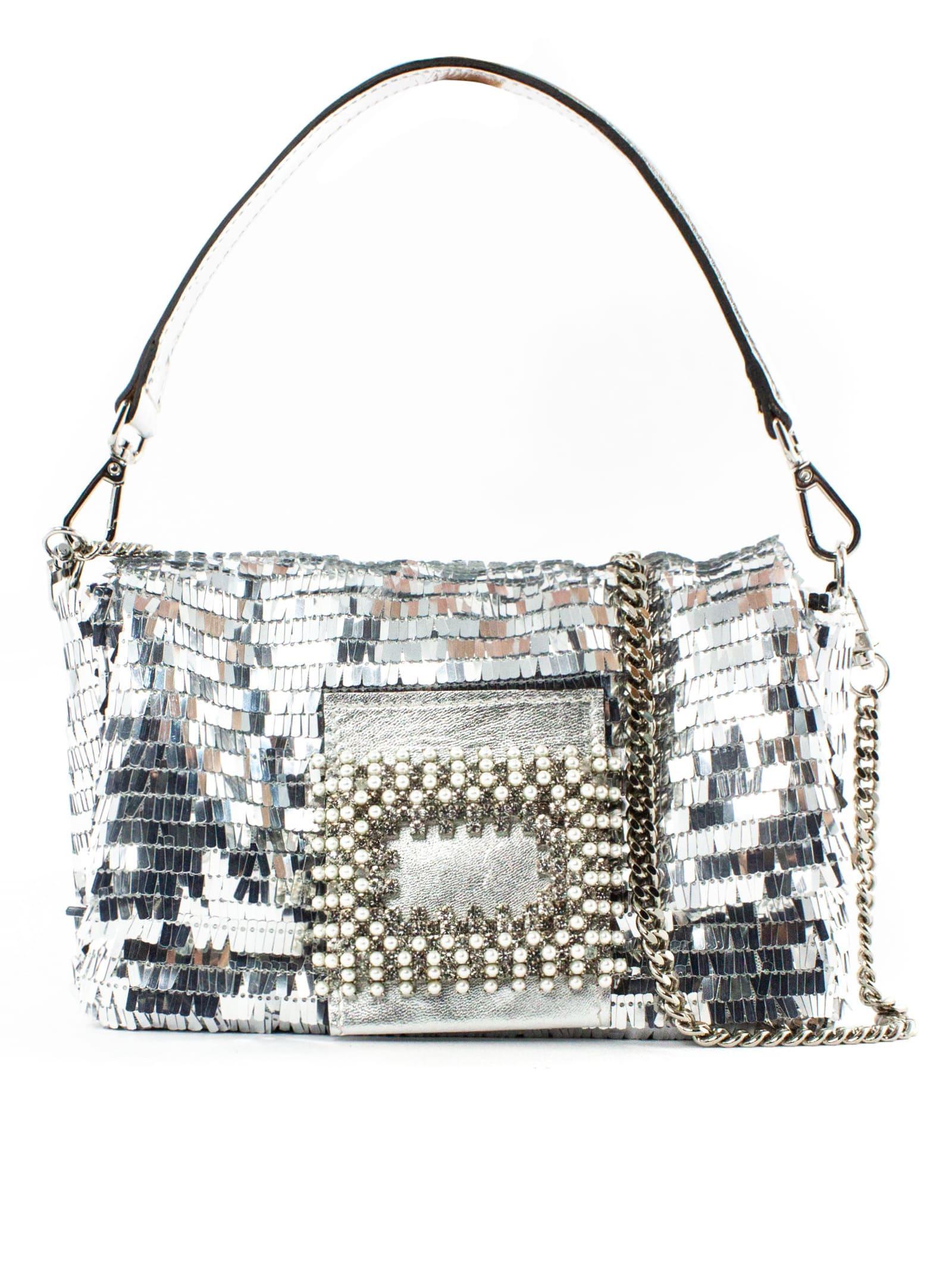 Mylove Shoulder Bag In Silver Paillettes