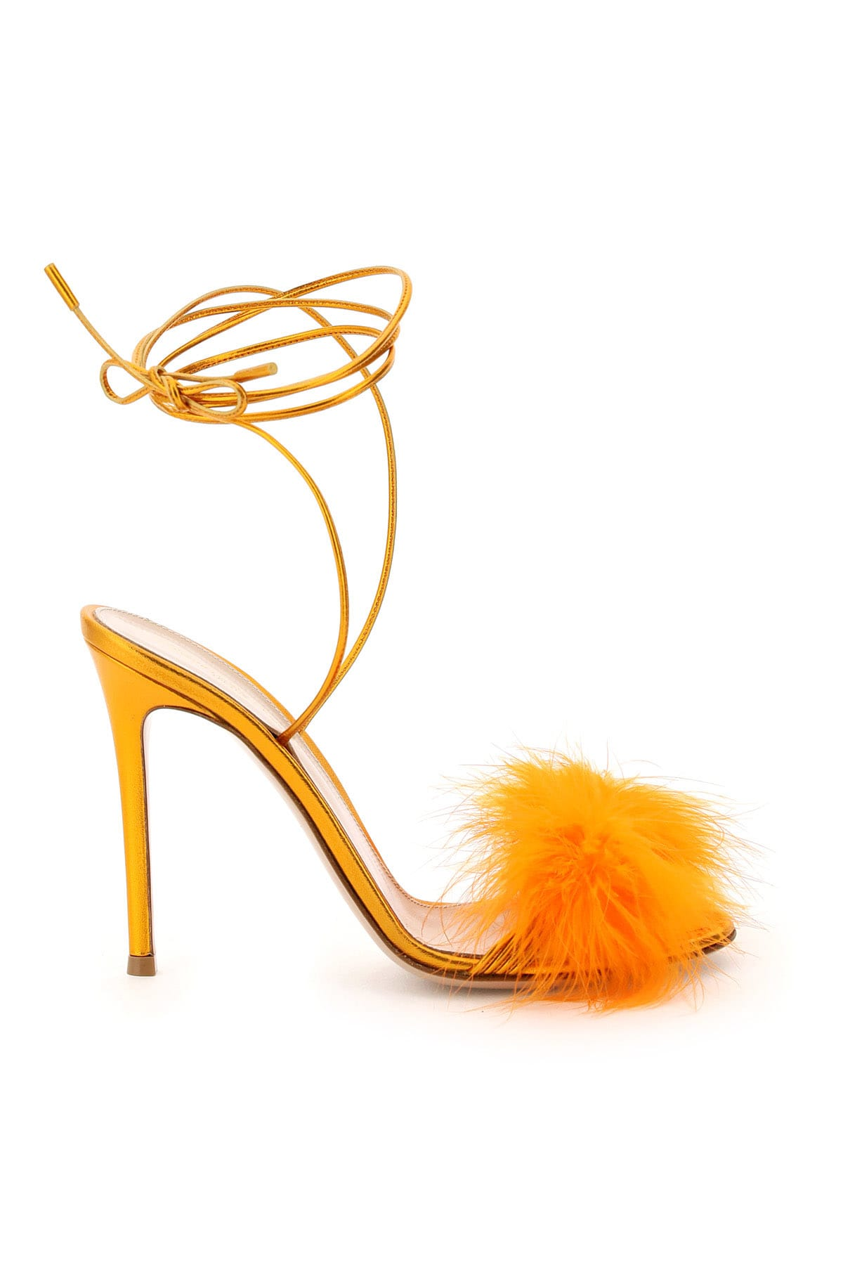 Gianvito Rossi METAL NAPPA SANDALS WITH FEATHERS