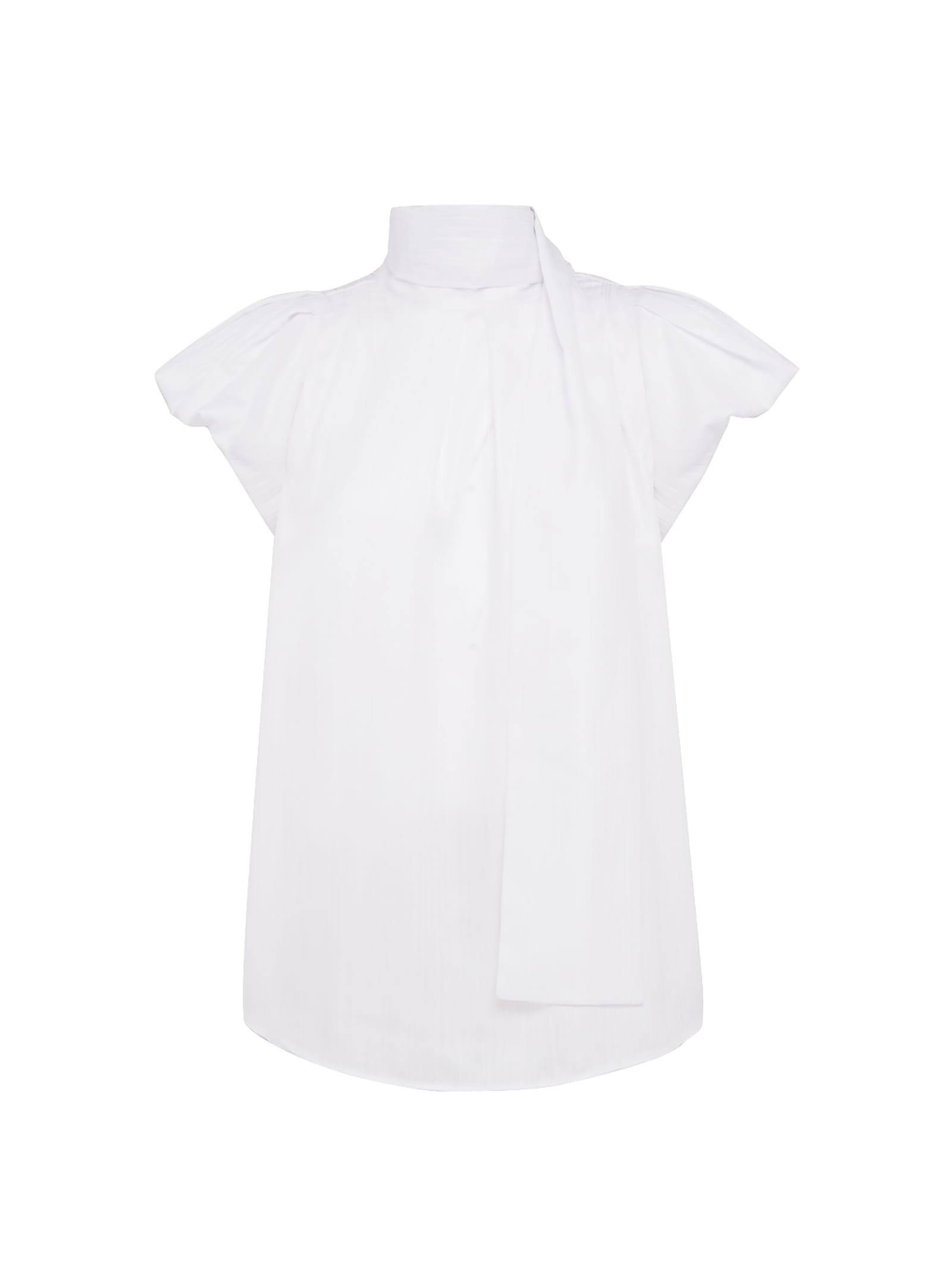White Blouse With Puffball Sleeves