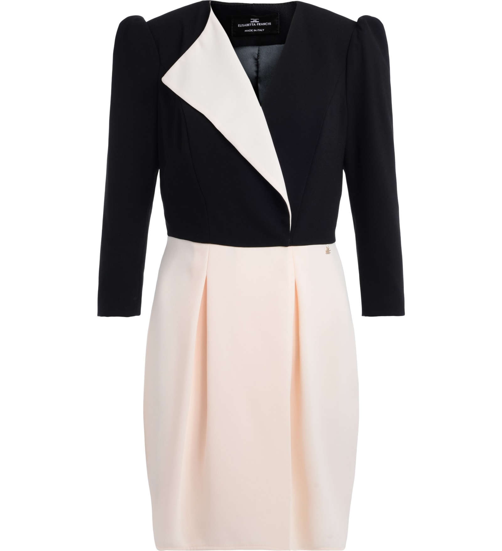 Elisabetta Franchi Dress With Black Wallet And Butter With Three-quarter Sleeves