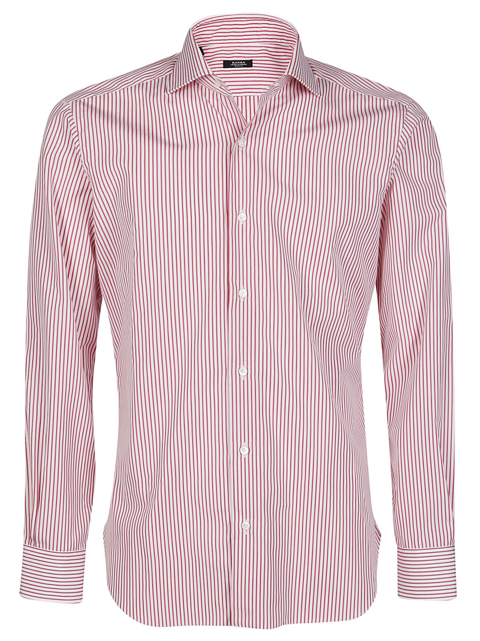 Barba Napoli Red And White Cotton Shirt